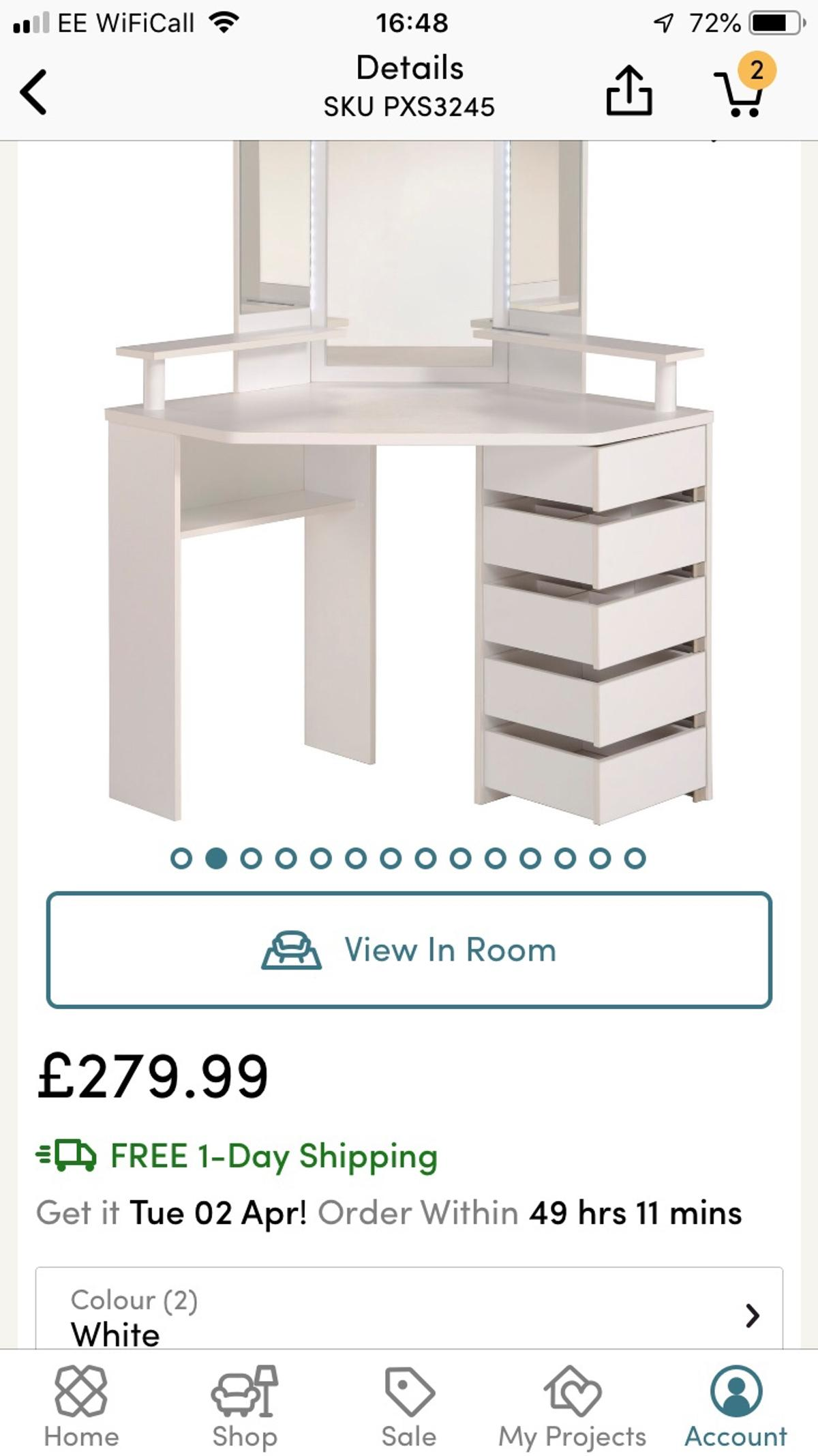 sneakers for cheap f05dc 9fdbb Wayfair Arnold Dressing Table white in DE21 Derby for £50.00 ...