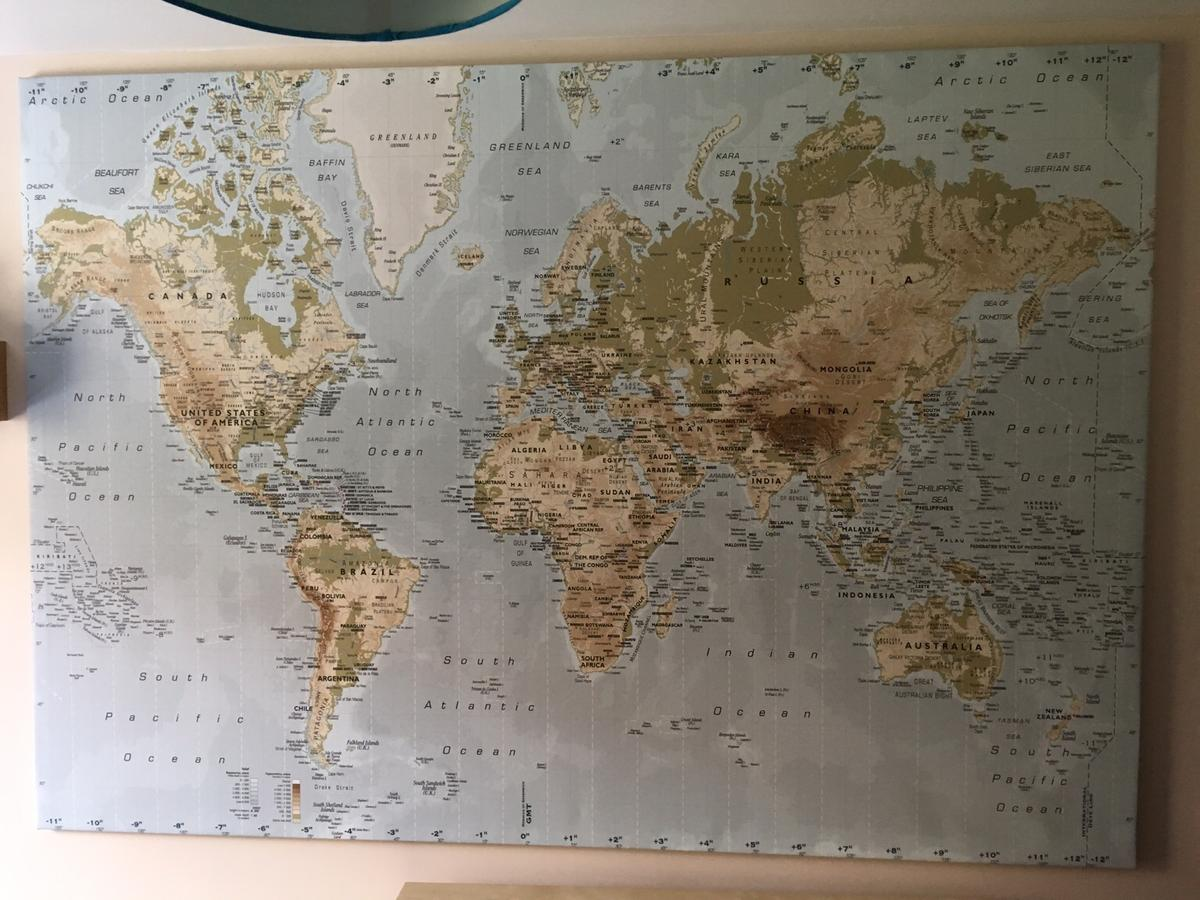Giant world map canvas