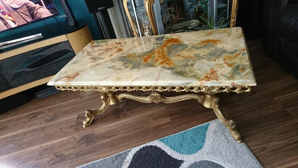 - Antique Solid Marble And Brass Coffee Table In B16 Birmingham Für