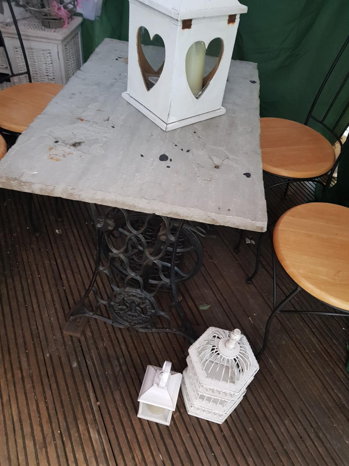 - Wrought Iron Singer Table With Concrete Top In WF4 Wakefield Für