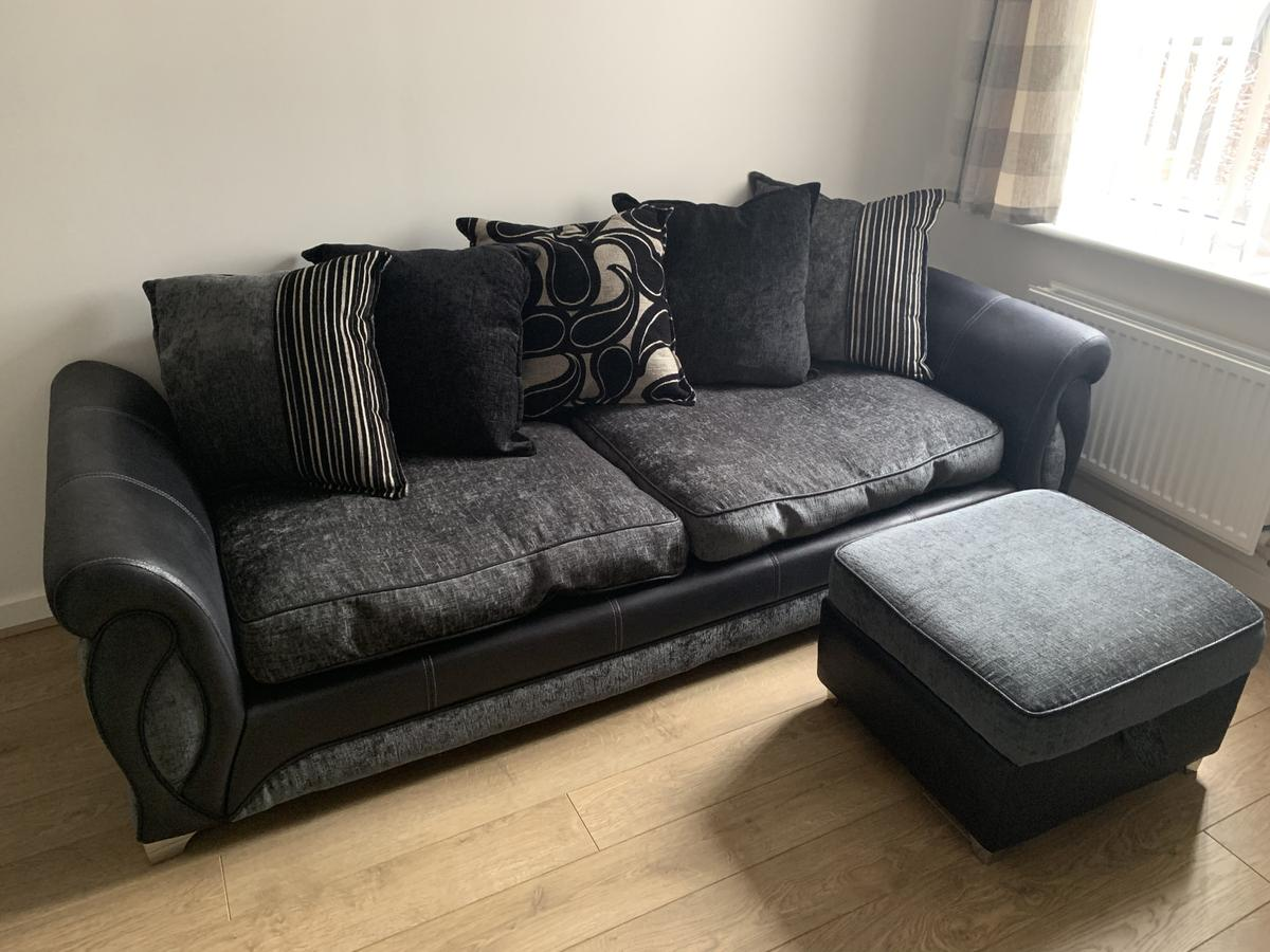 pillow black sofa, chairs and foot stool