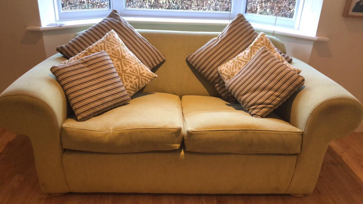 Picture of: Lime Green Sofa X 2 With Matching Cushions In Mk19 Northamptonshire For 100 00 For Sale Shpock