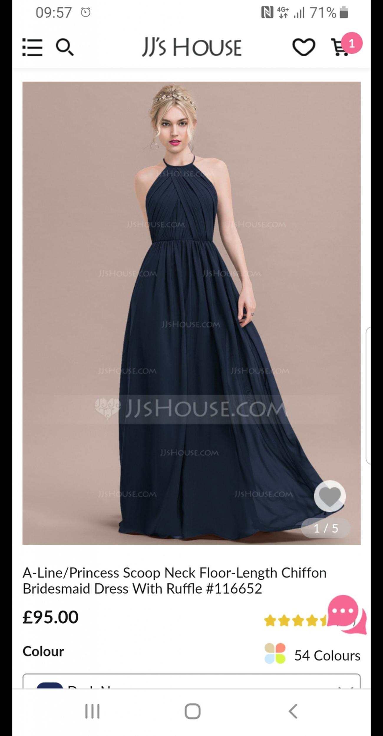 a702728ddeb navy bridesmaid JJshouse dress 12 14 never wo in KY11 Dunfermline ...