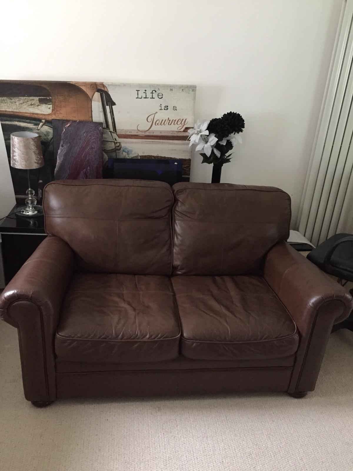 3 seater leather sofa bed + matching 2 seater