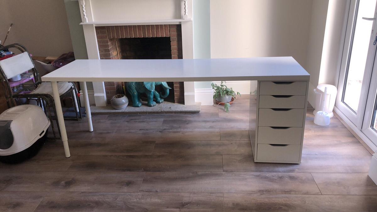 Ikea desk 2m long with drawers