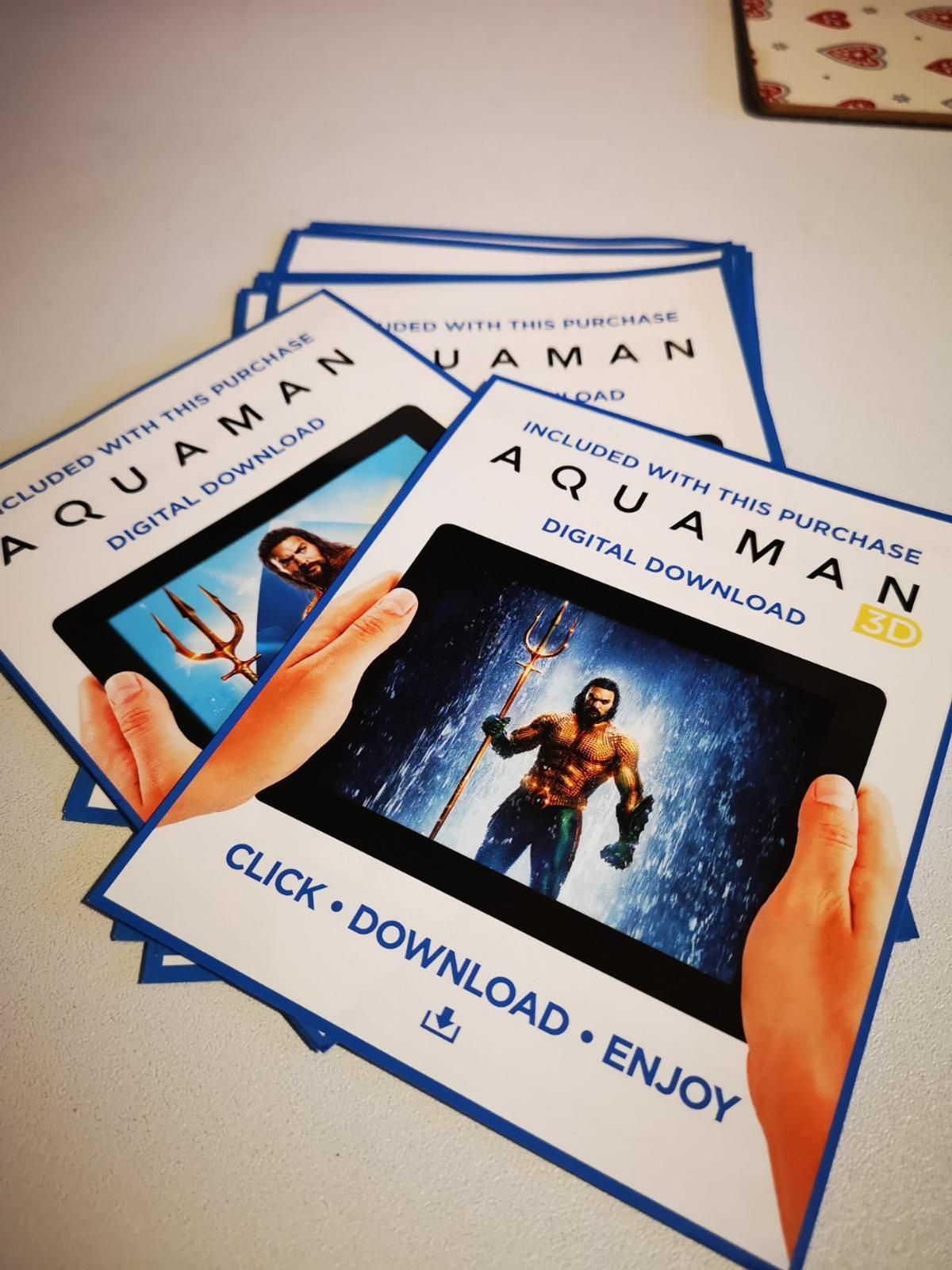 Aquaman digital download codes, 3d, hd and sd in Charnwood for £5 00