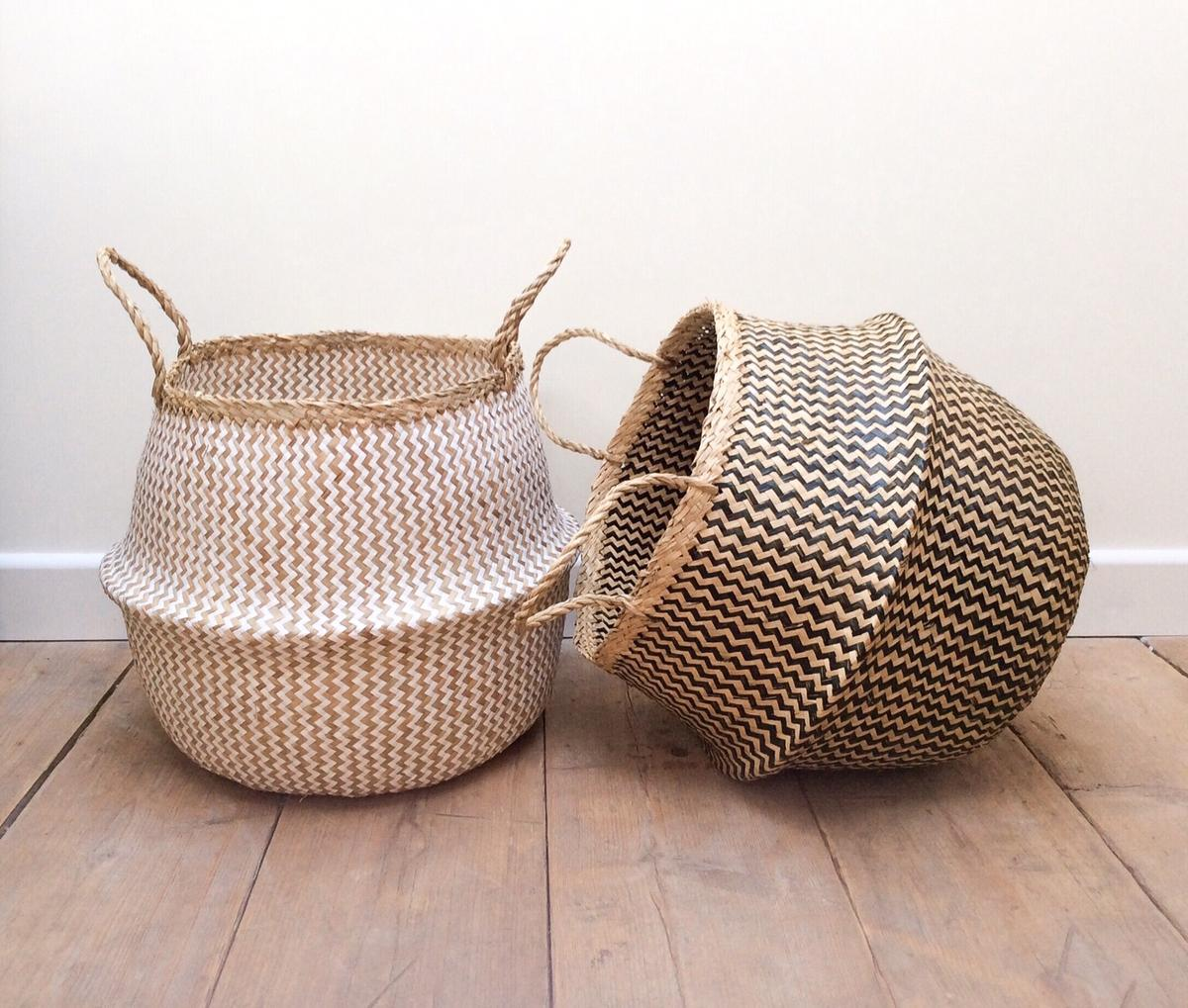 - 1 X Large Natural/White Seagrass Belly Basket In DY9 Bromsgrove