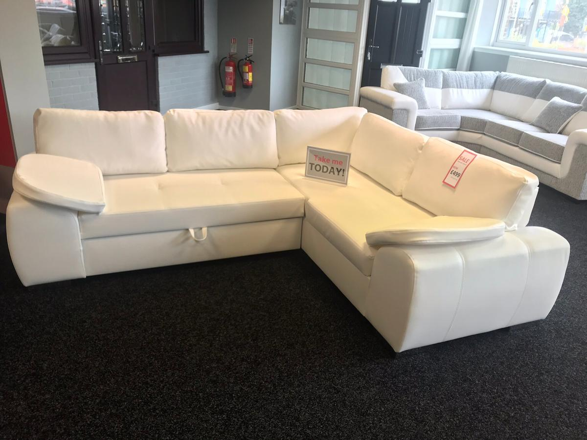 Sale Ex Display Sofa Bed Faux Leather White
