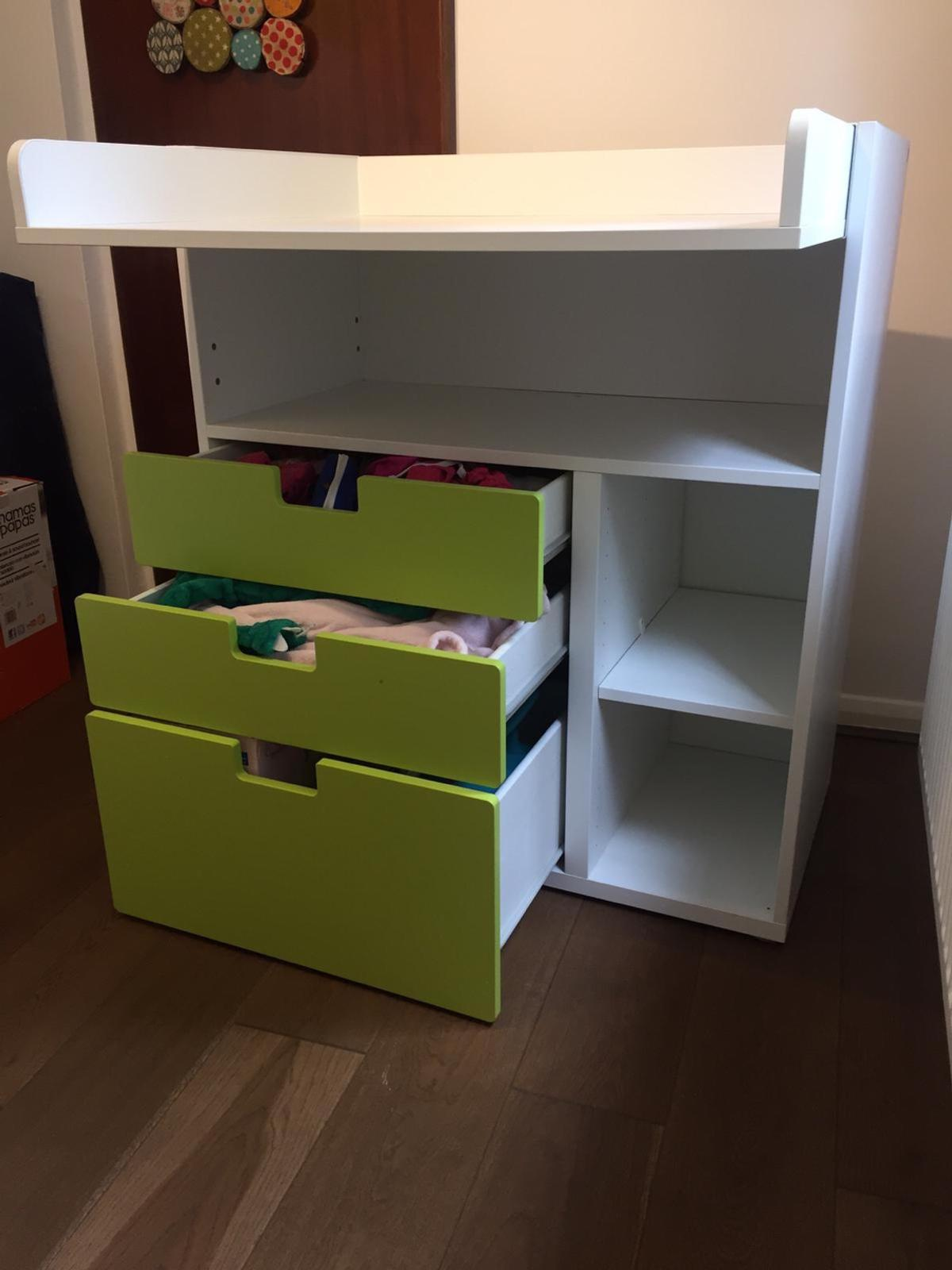 e630ac7fd6b0 Description. Changing table with drawers. Ikea - FRITIDS/STUVA White/green