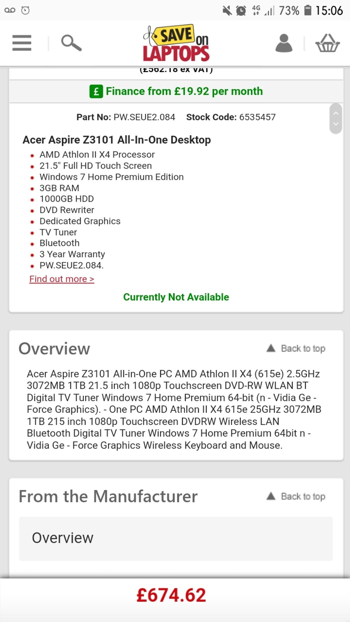 Acer Aspire Z3101 All-in-one PC  Windows 10 in CW7 Clive for £50 00