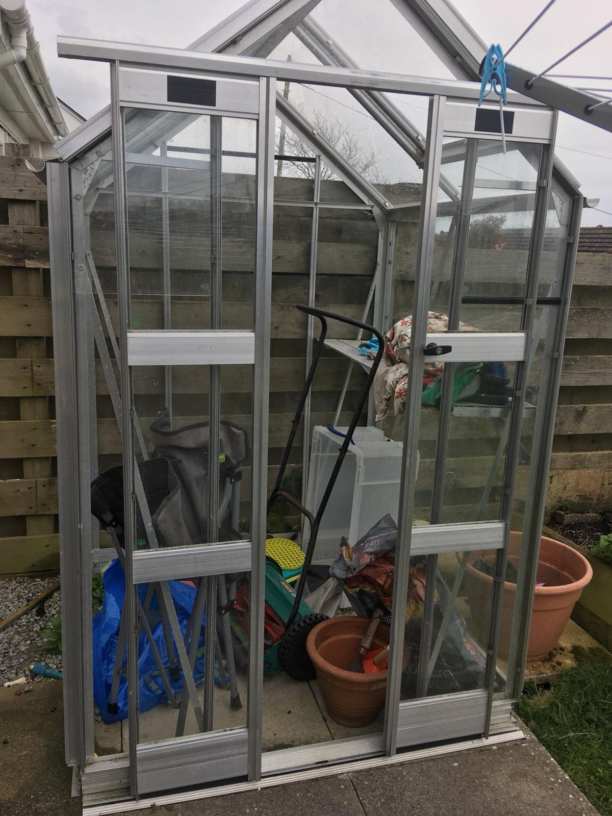 Small glass steel frame greenhouse - free in TR5 0RD St  Agnes for