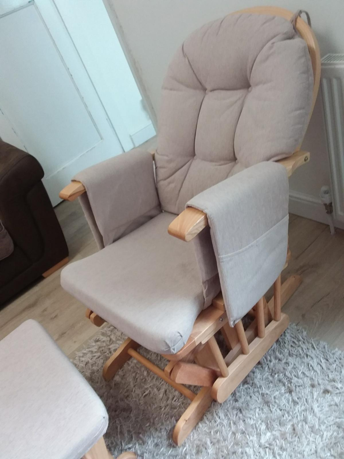 Wondrous Cream And Pine Baby Rocking Chair And Stool Squirreltailoven Fun Painted Chair Ideas Images Squirreltailovenorg