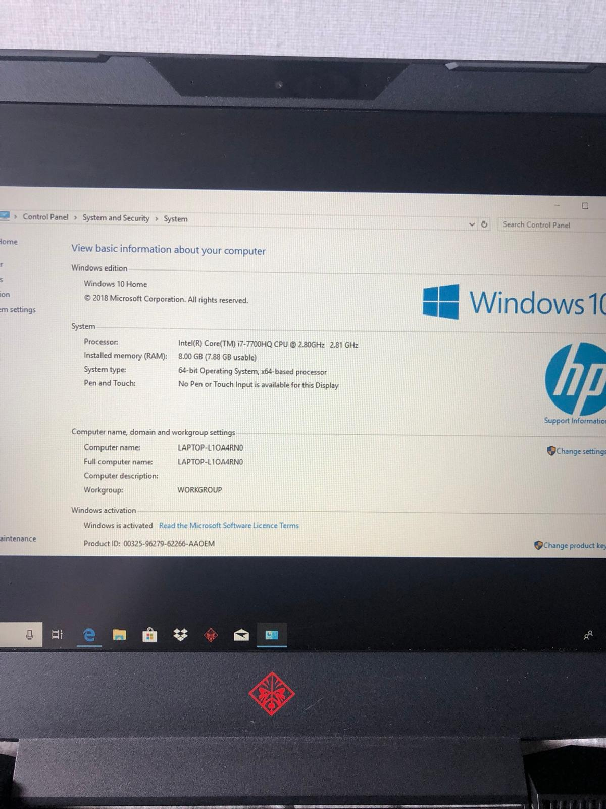 HP Omen 15-ce054na Gaming Laptop in B25 Birmingham for £550 00 for