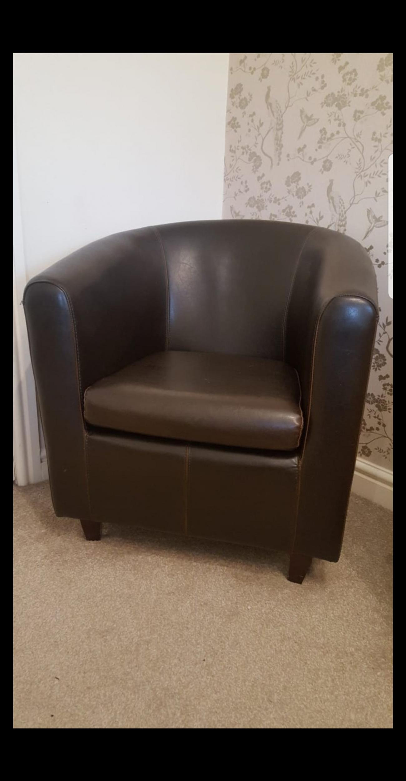Brown Leather Tub Chair Next In B77