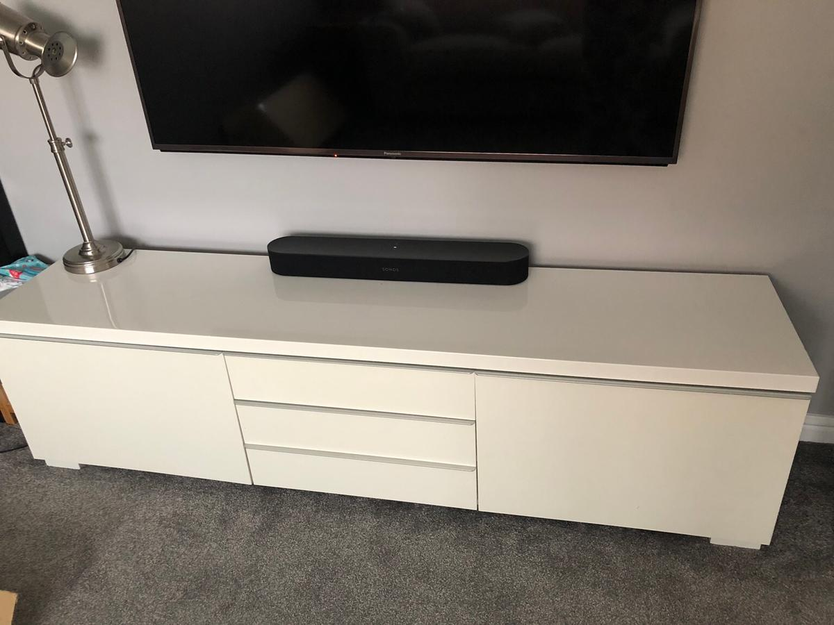Ikea Besta Burs White Gloss Tv Unit In