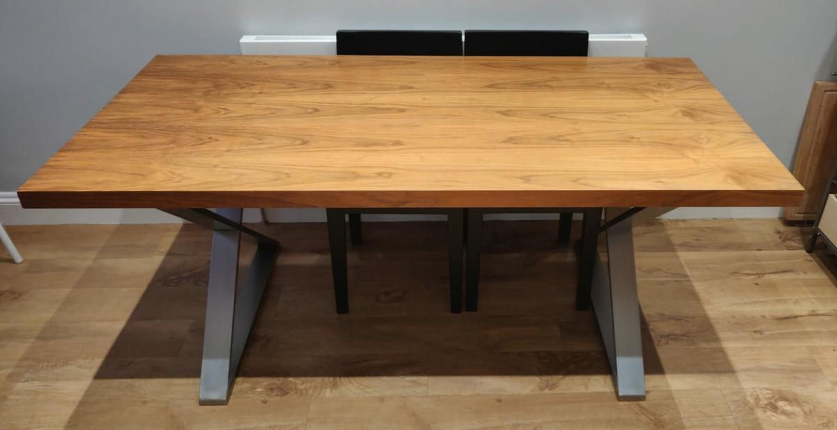 Dwell Walnut Dining Table With Crossed Legs