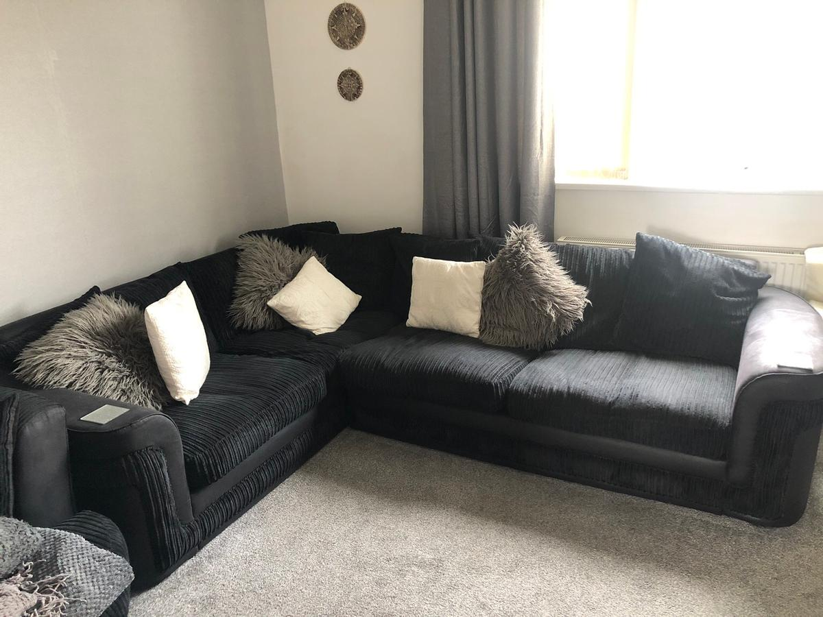 BLACK CORNER SOFA WITH SOFT BACK CUSHIONS in S70 Barnsley for ...