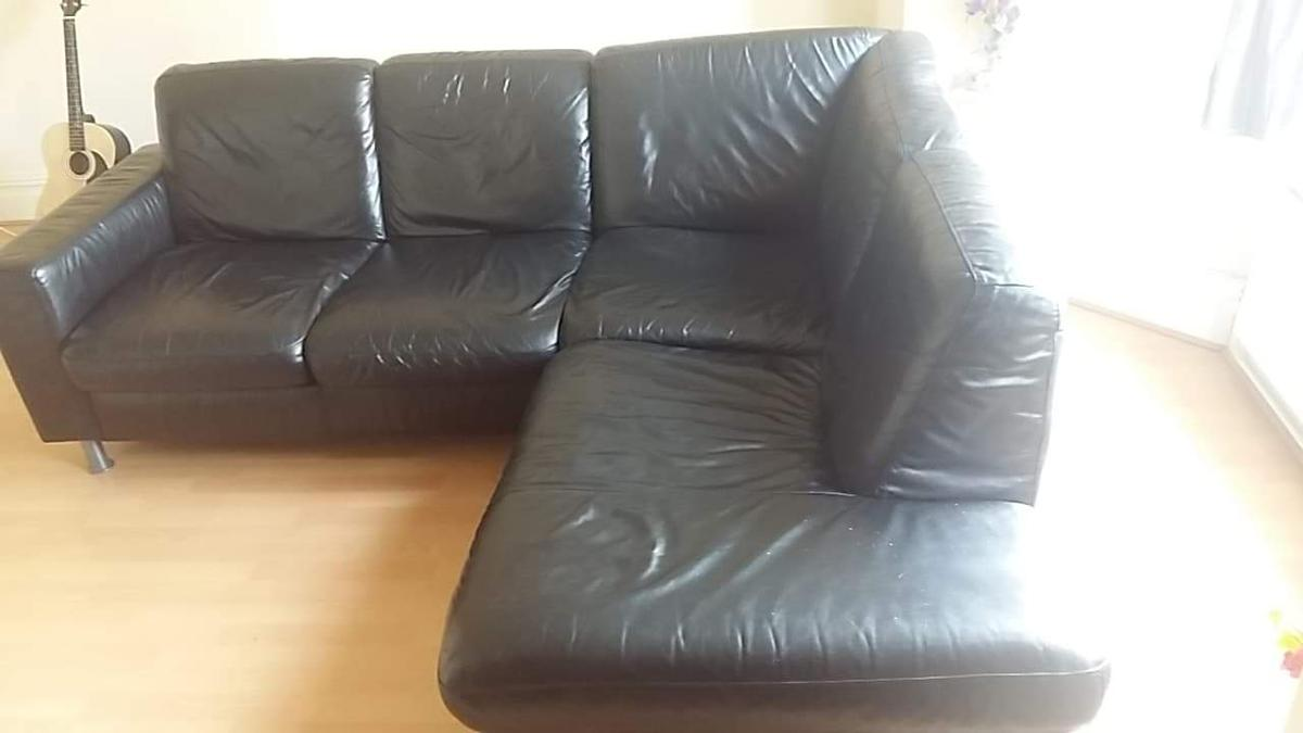 black leather corner sofa in St Helens for £200.00 for sale - Shpock