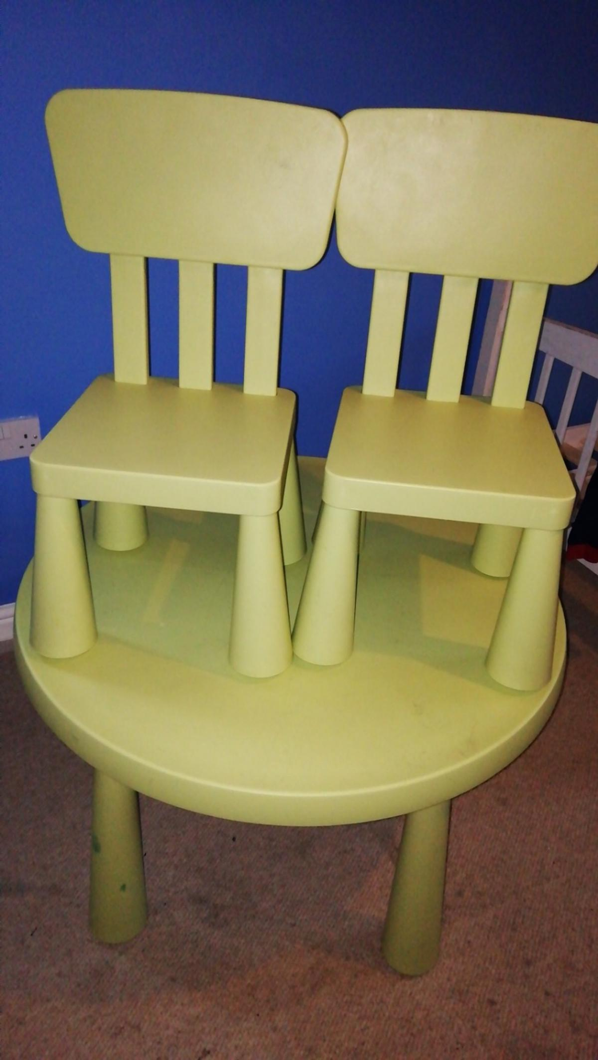 Swell Ikea Kids Green Round Mammut Table 2 Chairs Onthecornerstone Fun Painted Chair Ideas Images Onthecornerstoneorg