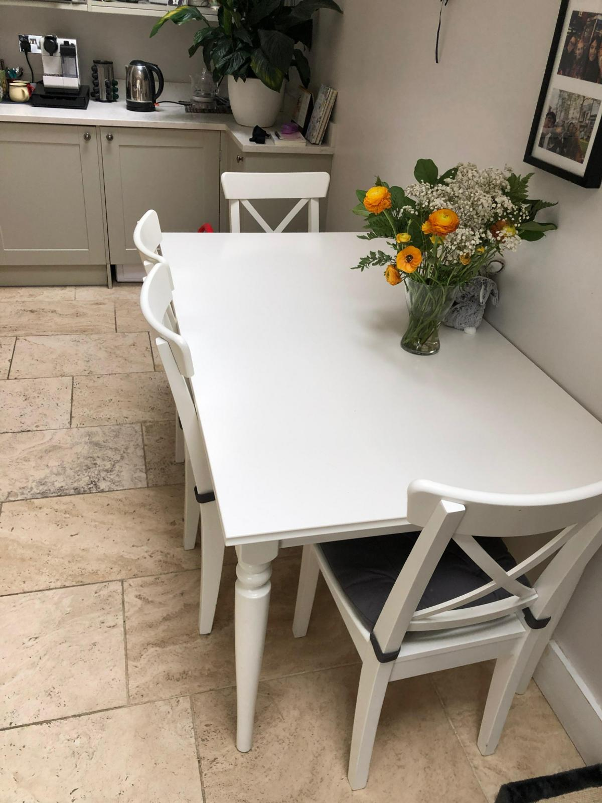 Ingolf Table And 4 Chairs White Ikea
