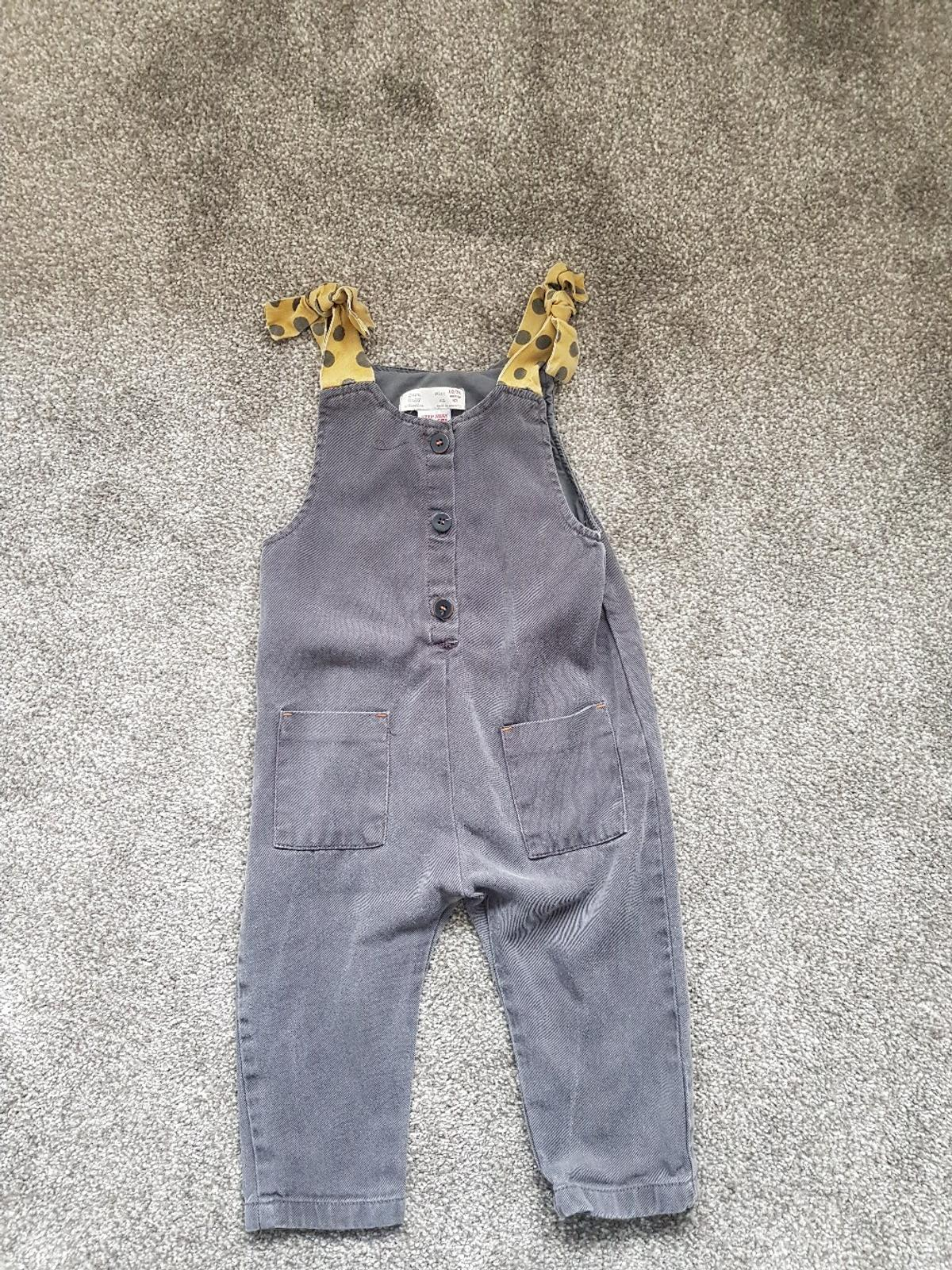 2d1f0a23 girls Zara grey dungarees with bow shoulder in B31 Birmingham for ...
