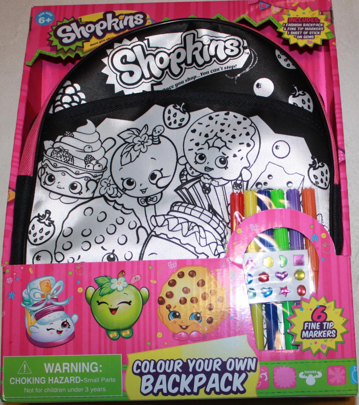 Shopkins Colour Your Own Backpack New