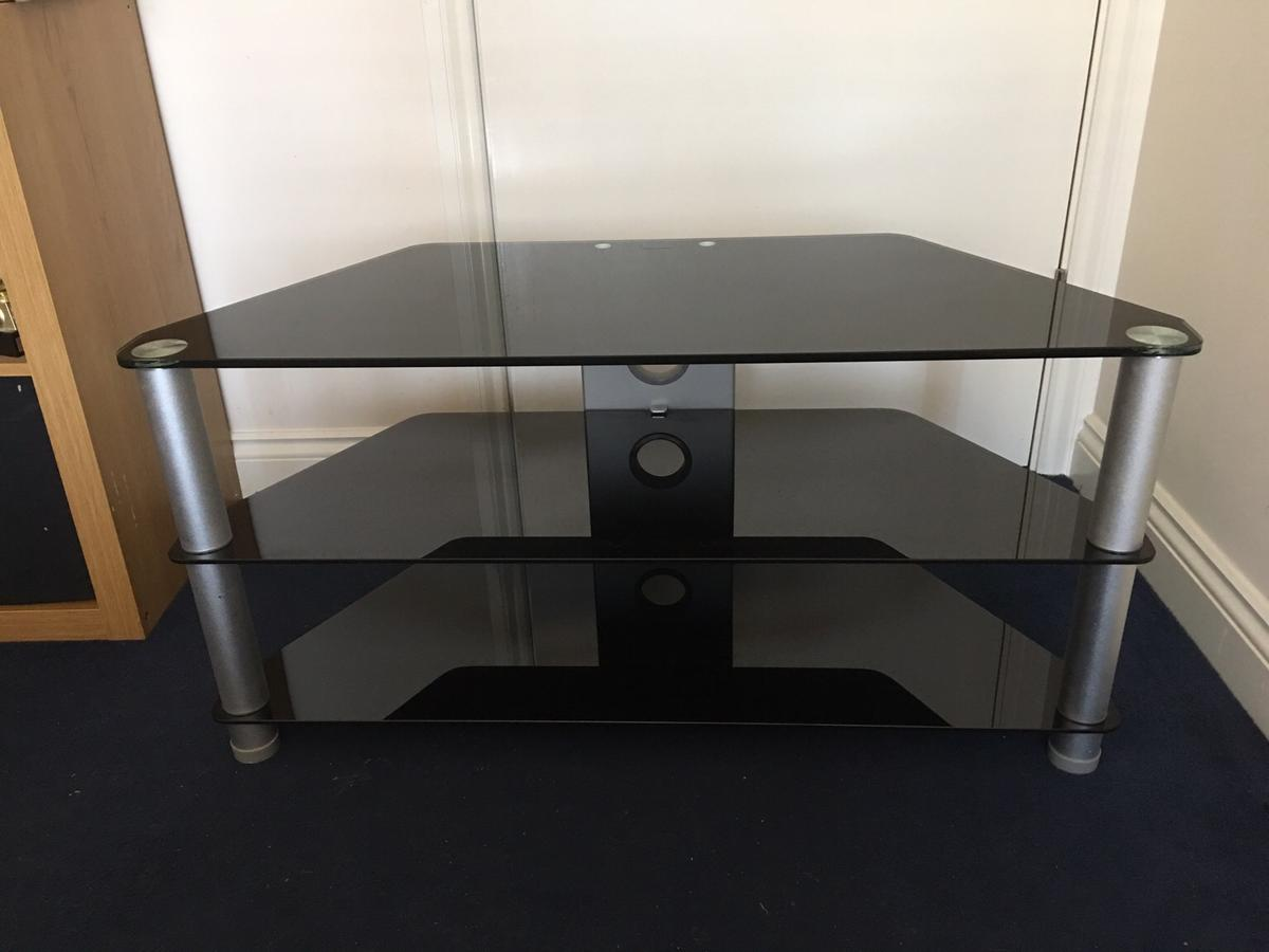 best loved 49e62 7d032 Black 3 tier glass tv stand
