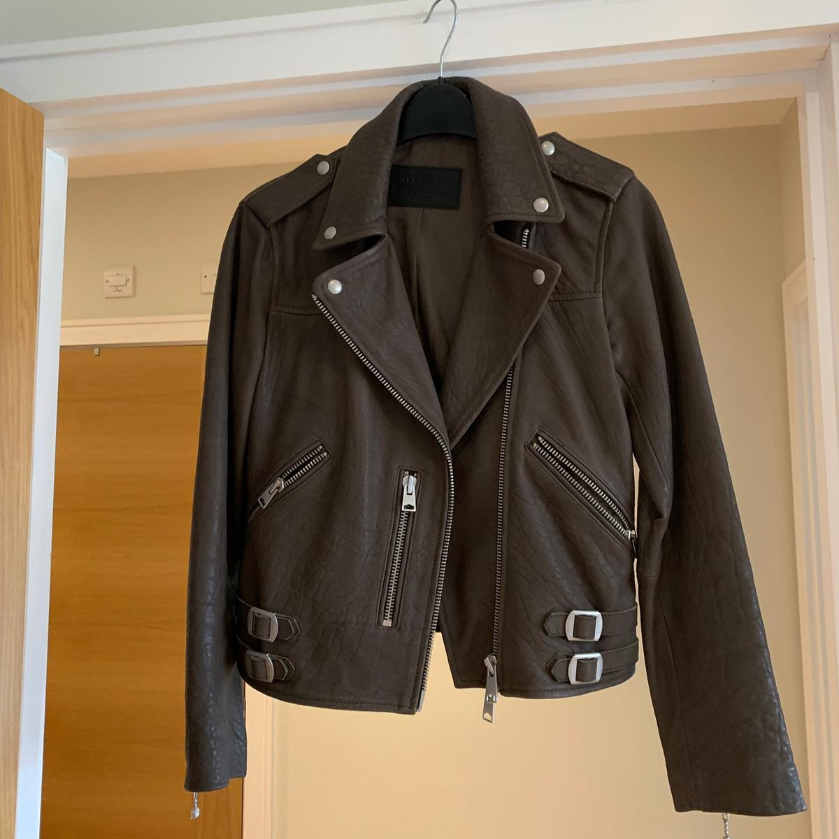 Allsaints taupe leather jacket in CM14