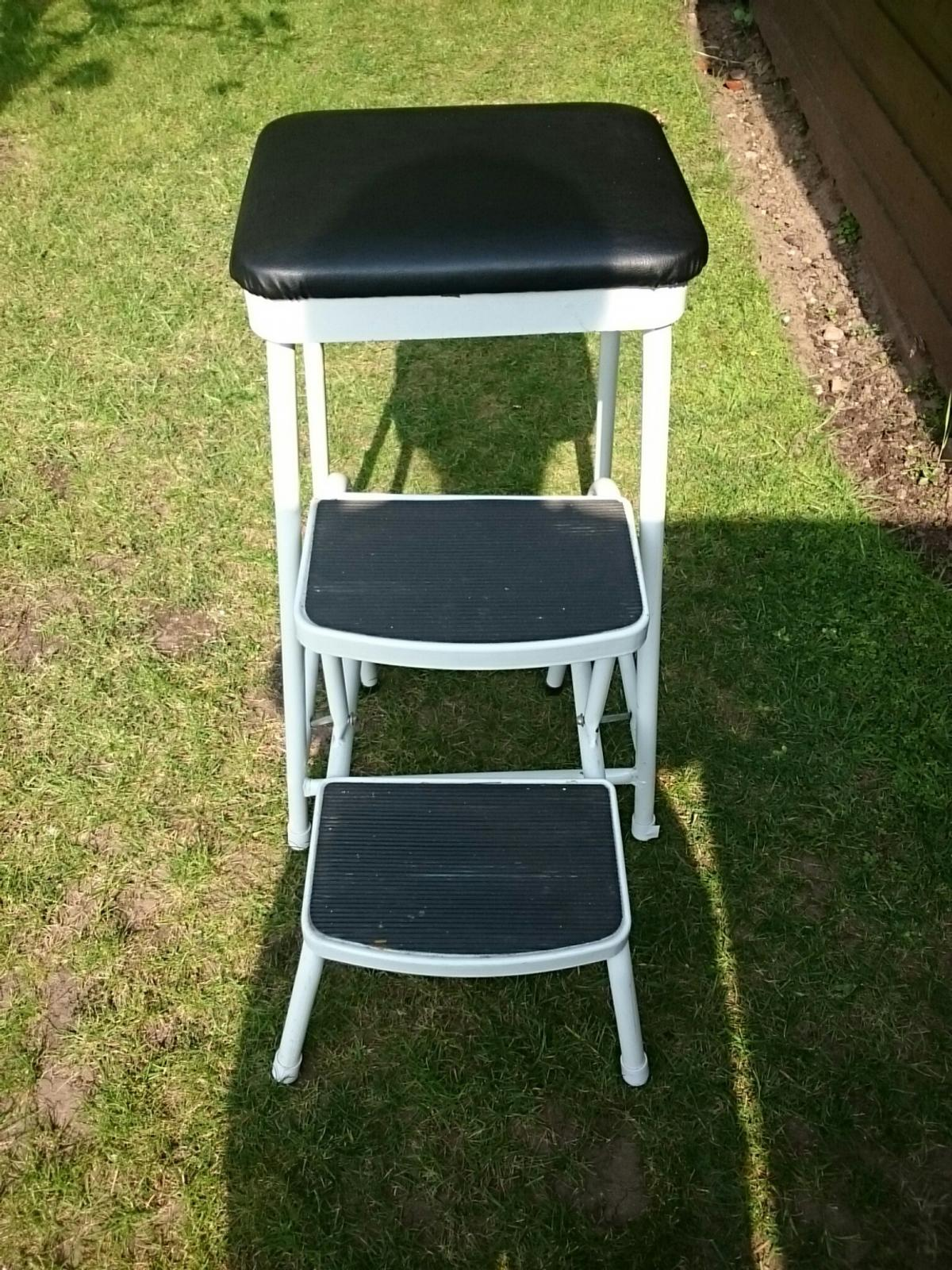 Stool Step Ladder With Padded Seat In