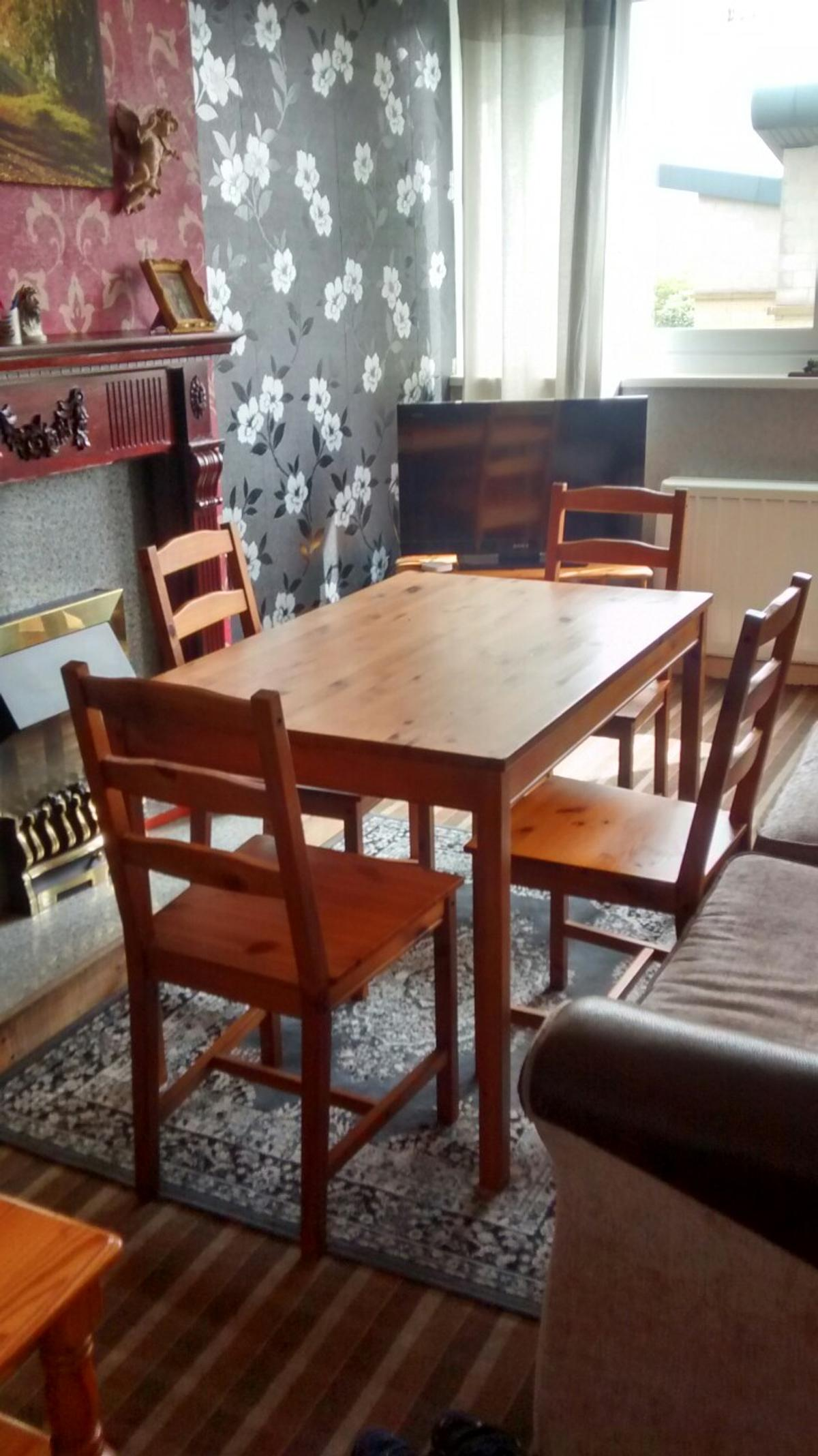 Ikea Pine Dining Table And 4 Chairs