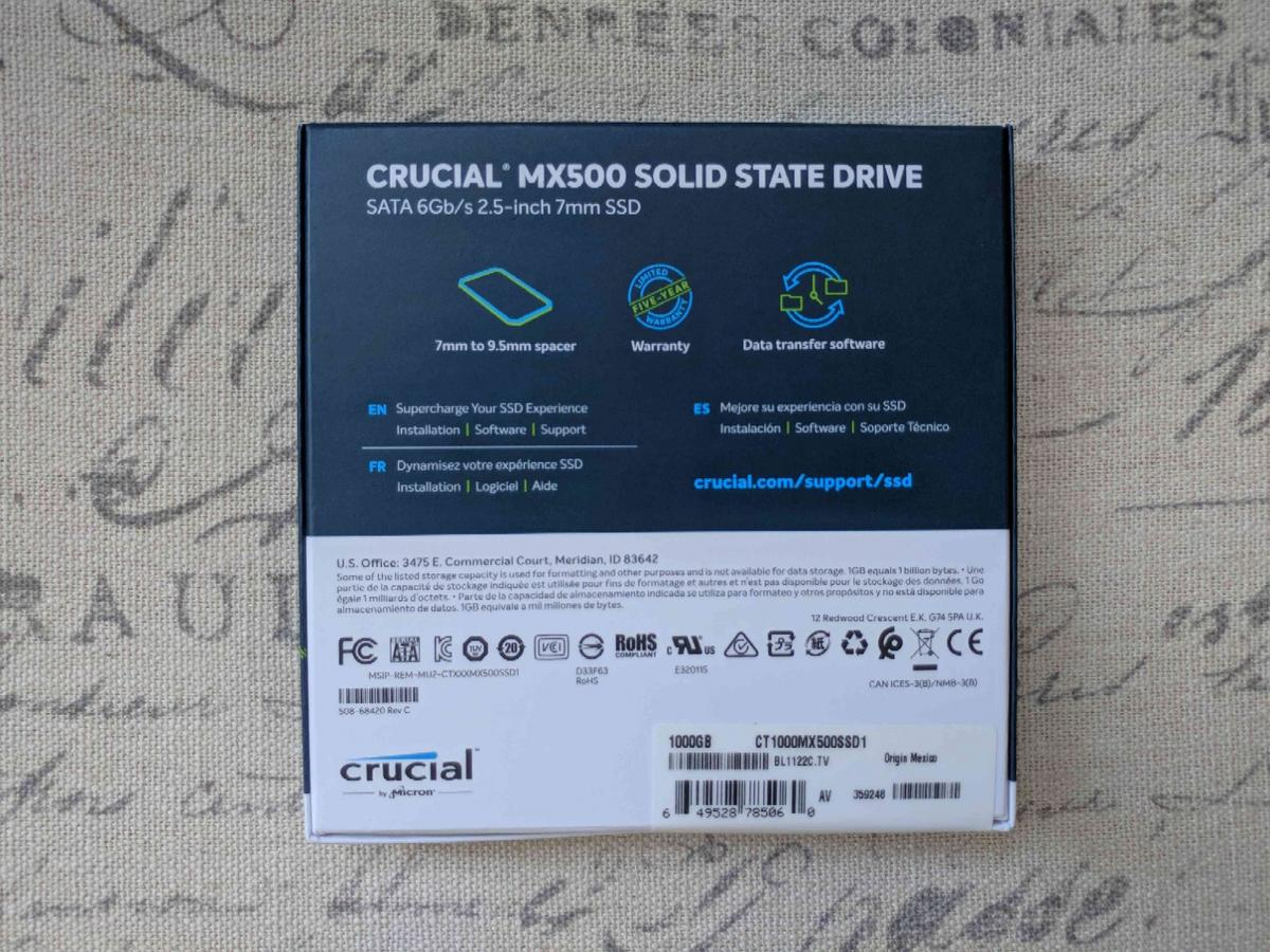 Crucial MX500 1TB SSD [3D NAND] in for US$105 00 for sale