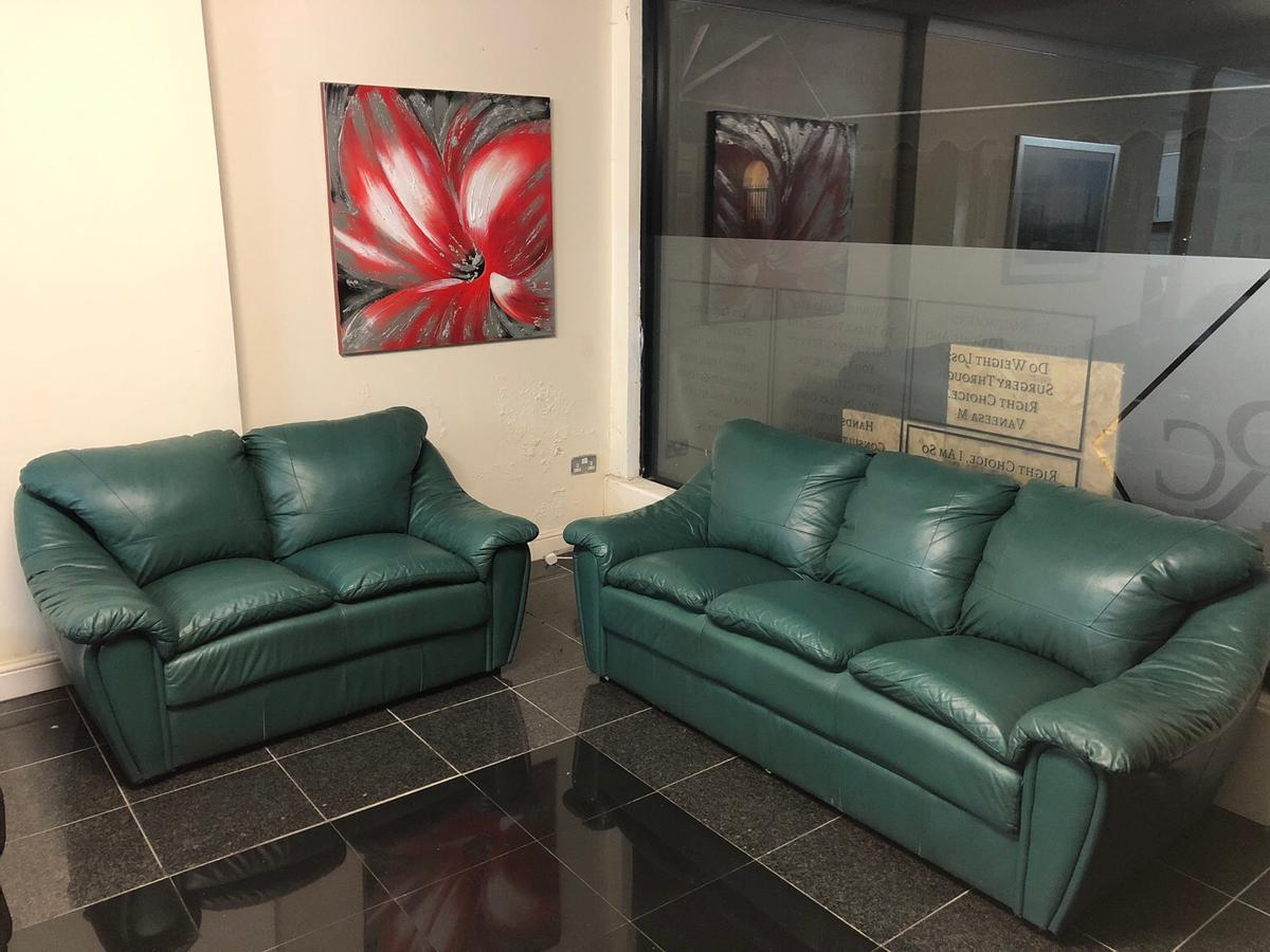 3 2 Seater Green Italian Leather Sofa