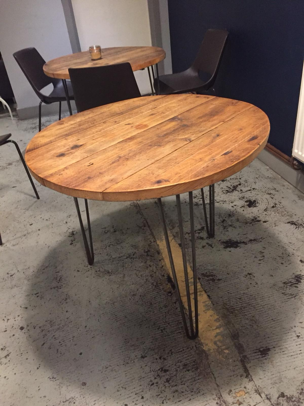 Round Vintage Table With Hairpin Legs