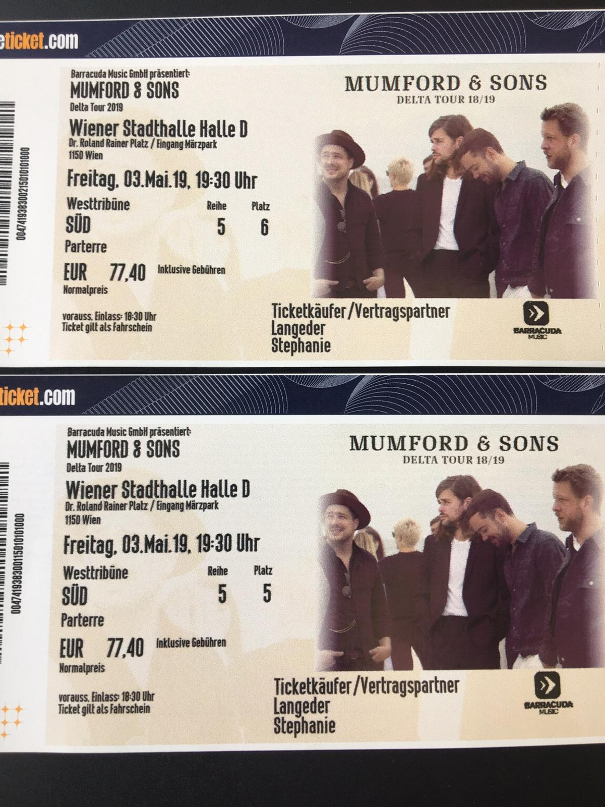 Mumford And Sons Delta Tour Wien 3 5 In 1130 Wien For 150 00 For