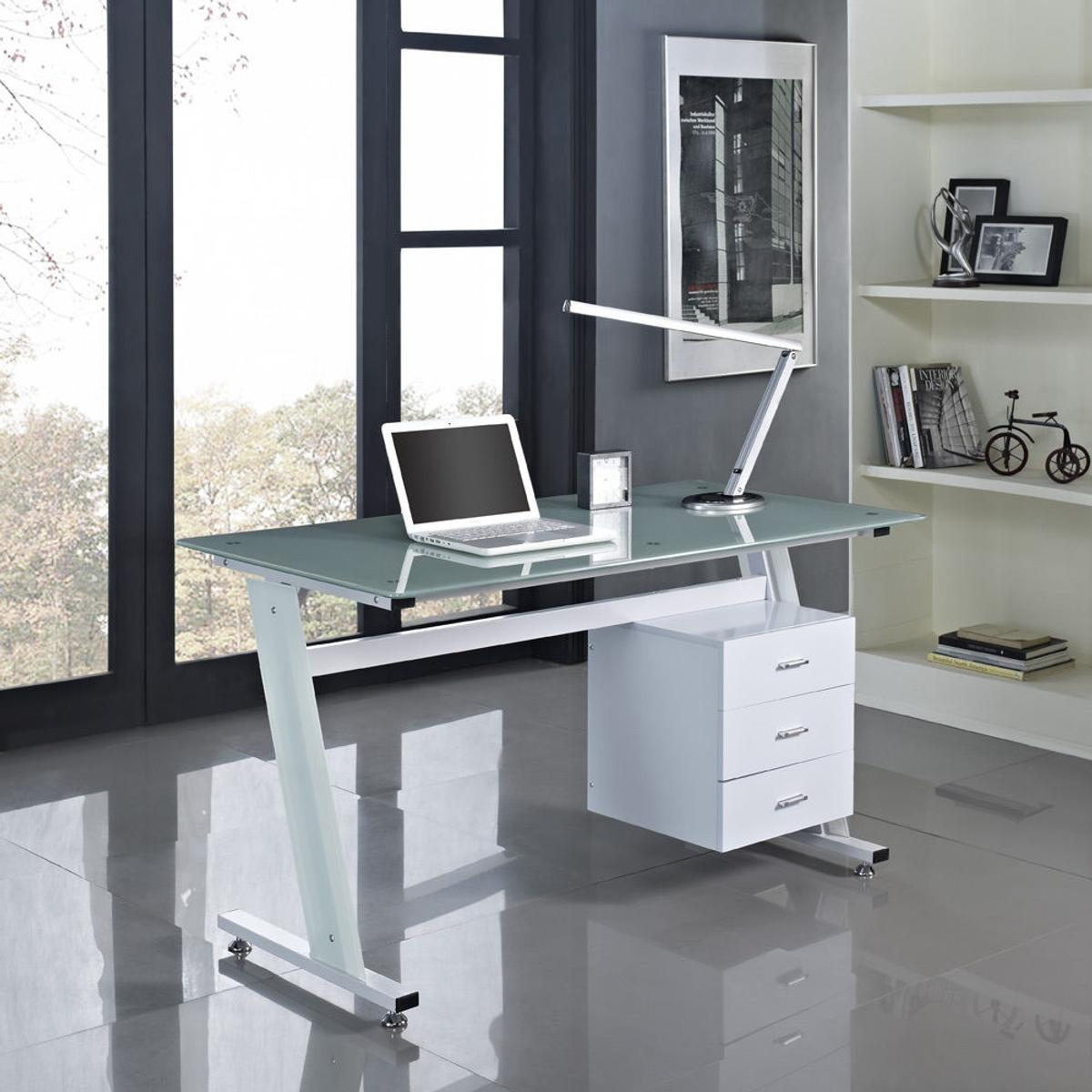 - New Computer Office Desk Glass Top & Drawers In DE11 Derbyshire