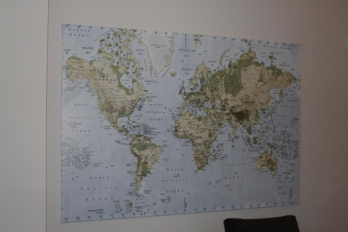 Ikea World Map Picture with Frame/canvas