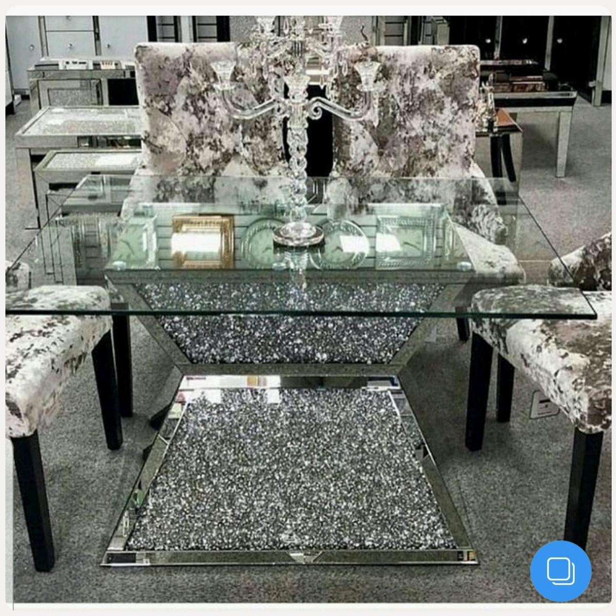 Crushed diamond square table £650 With chairs £1250