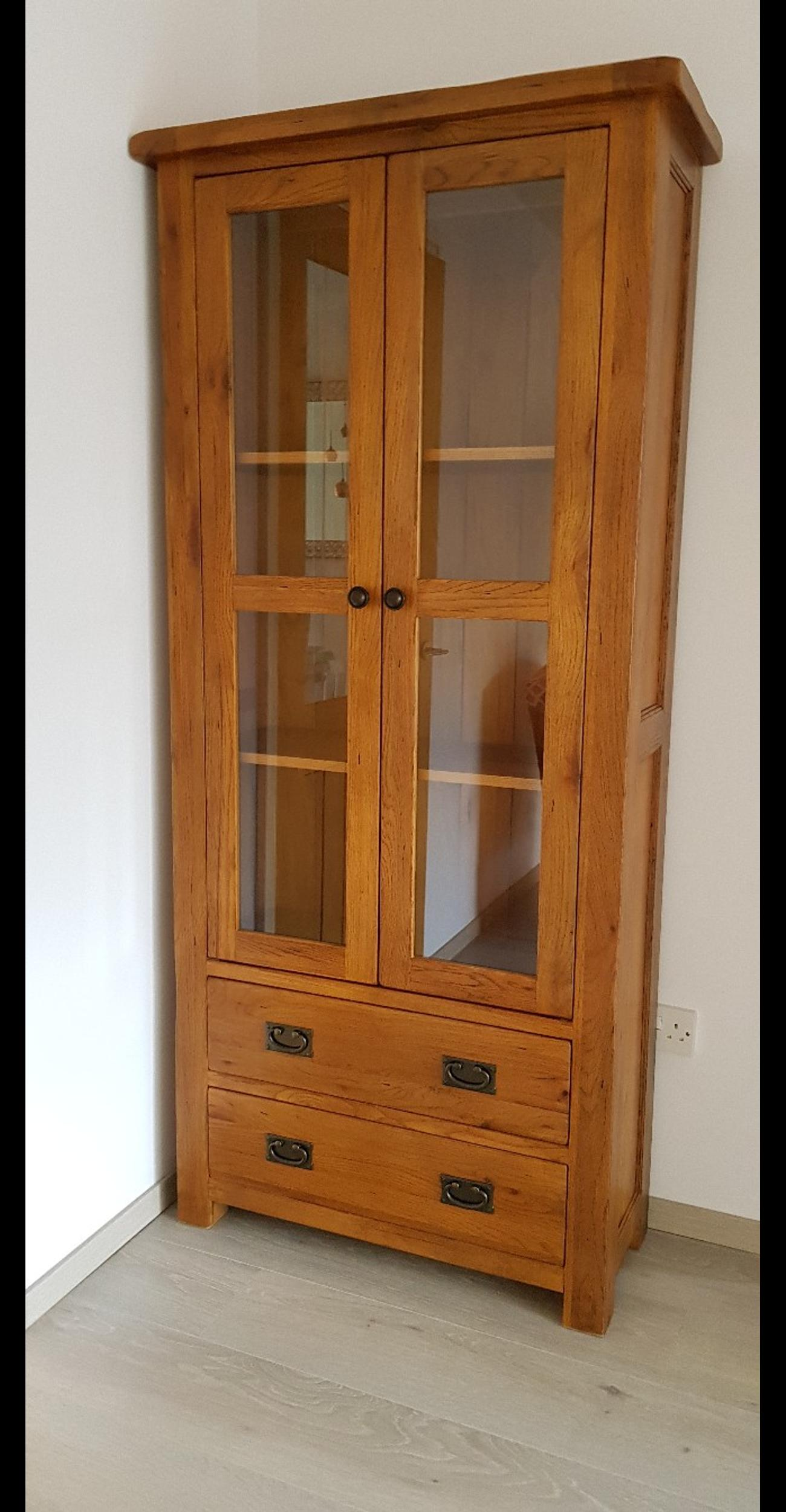 Solid Oak Wall Unit Display Cabinet Bookcase