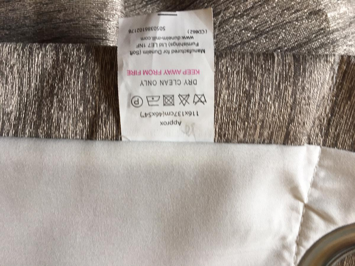 Grey/Gold Curtains Fully Lined. 1160mm by 1370mm to each Curtain Panel. Excellent Condition