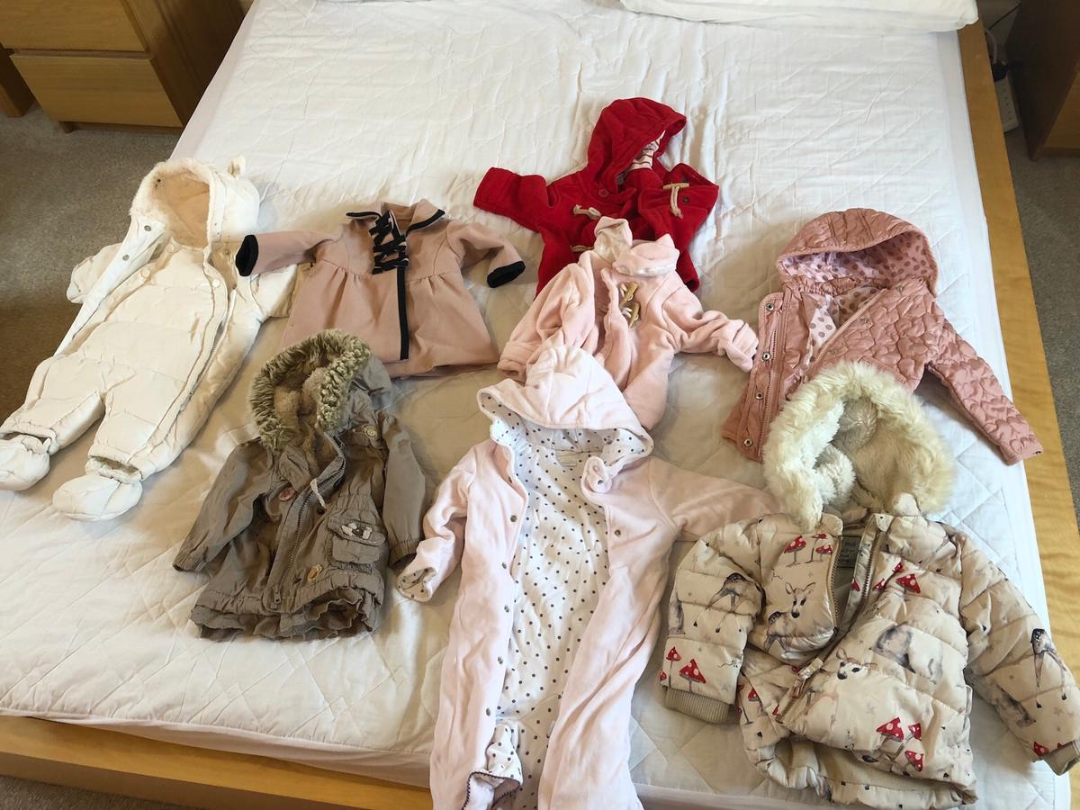 From left to right: M&S snowsuit 0-3 months Next x2 3-6 months Next coats x 2 6-9months Mamas and papas snowsuit 6-12 Next coats x2 9–2 months  All from smoke free and pet free home Collection only