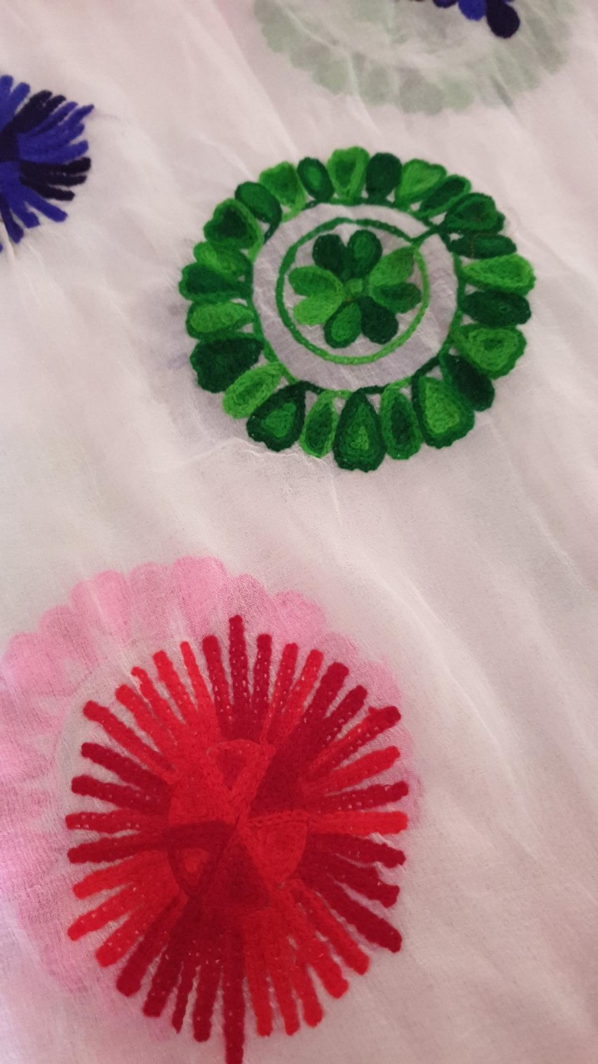 ladies duppatta in white c ok lour with lovely coloured embroidery all over brand new.