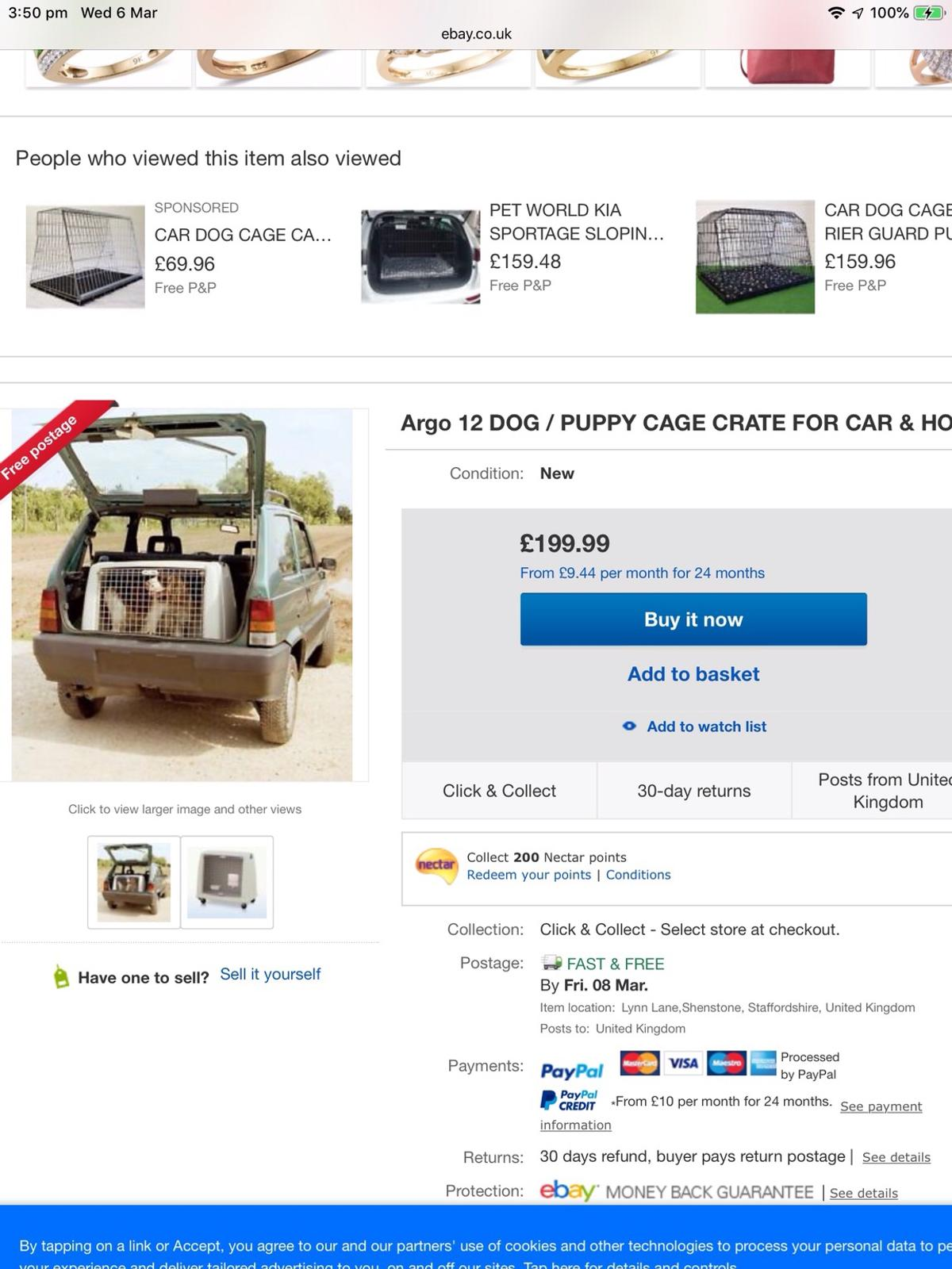 Dog crate, very good strong heavy plastic frame, only reason for sale is it doesn't fit my new car, suitable for 2 small dogs cockapoos etc or one medium size dog in excellent condition looking for £70 as you can see from the picture they cost a lot more