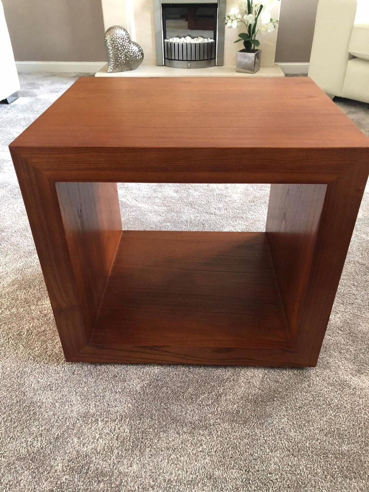 2 X Quality Wooden Cube Side Tables