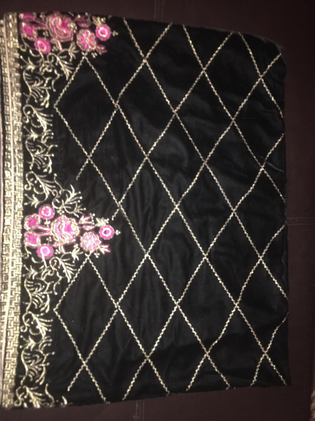 Black velvet shawl with pink and gold thread embroidery brand new never worn