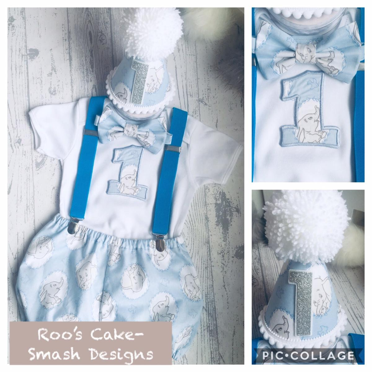 Handmade Cake smash boys baby birthday outfit age 12-18 months