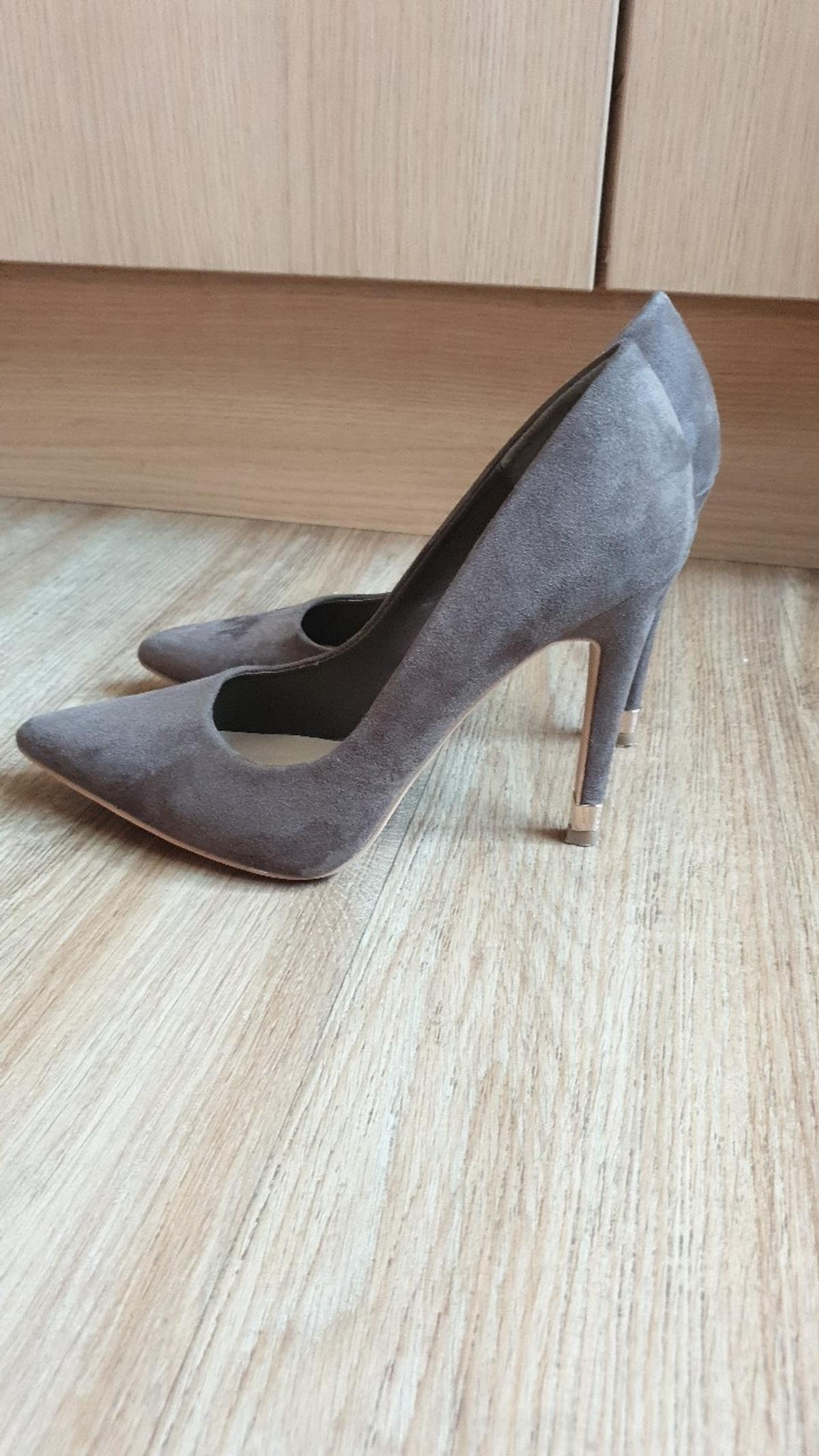 suede khaki stilettos from new look size 5 worn once for 3 hours to christening non smoking home immaculate condition cost £24.99