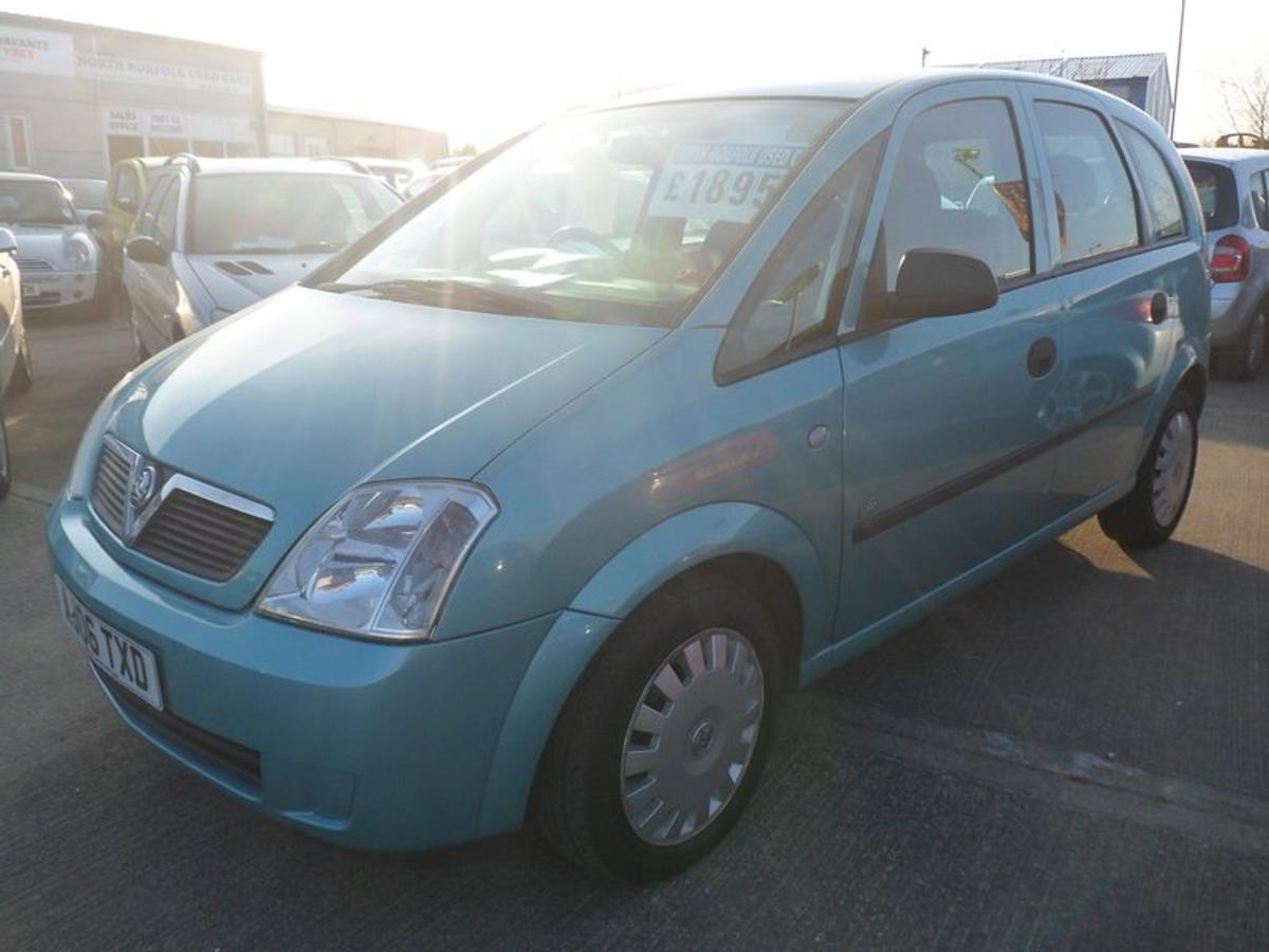 2006 Vauxhall Meriva Life 8v, £1895 - 10% SALE = £1705, MPV, 1.6 petrol, Mileage; 87,924, Service history; 3 previous stamps, Sold with full 12 months MOT, Sold with full service inc. new cambelt fitted, Sold with 3 months warranty, Road tax; 6 months @ £126.50 or 12 months @ £230.00, Power; 87bhp, MPG; 36.2, Transmission; Manual, Colour; Silver, Previous owners; 2, Keys; 2, Specific Features; * Air con, * After market CD/radio, * Electric front windows, * Electric wing mirrors, * Cup holders, * Headlight reminder alarms, * Headlight height adjuster, * Reminder alarm for key, * Digital clock with outside temp. display, * Vanity mirrors, * Front SRS airbags, * Rear windscreen defogger, * Seatbelt reminders, * Driver seat height adjuster, * Seatbelt height adjusters.