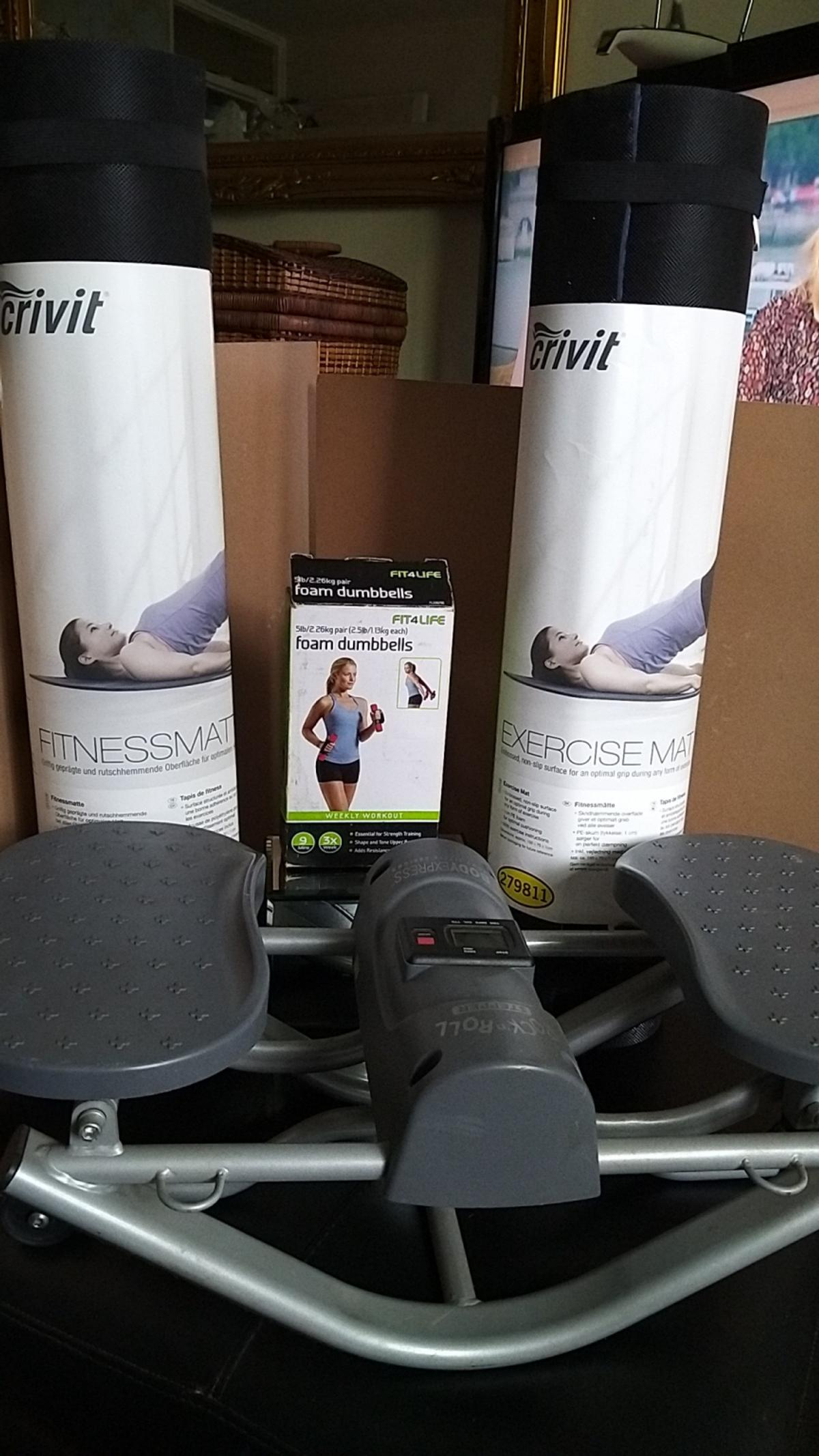a selection of fitness equipment together with a reduction of daily carbohydrates you will achieved your goals good luck 😀 exercise mat £5.00 dumb bells £8.00
