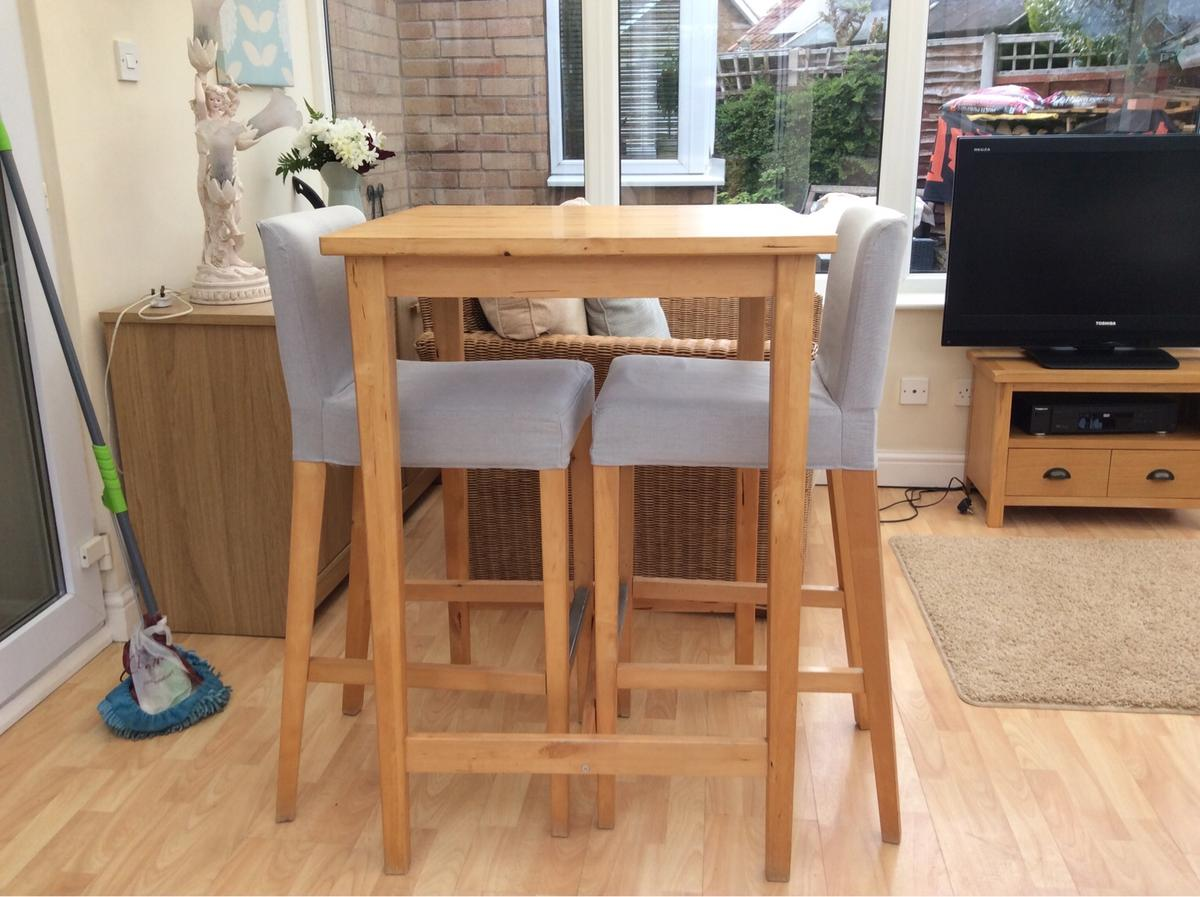 Description Ikea Breakfast Bar And Two Matching Stools