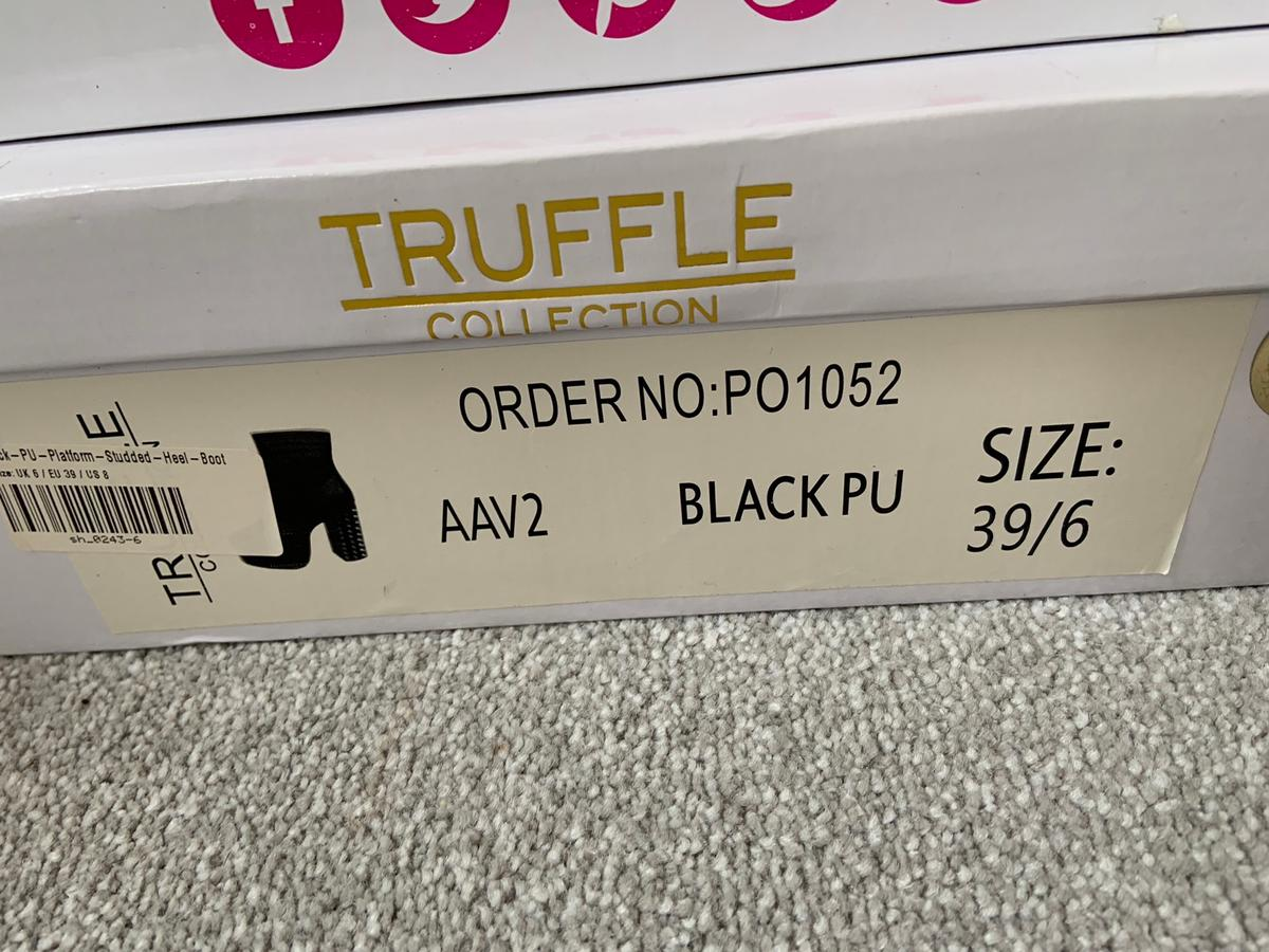 Women's size 6 black boots. Studded heels . Never worn. Brought for £28.00 selling for £16.00 all boxed and packaged.